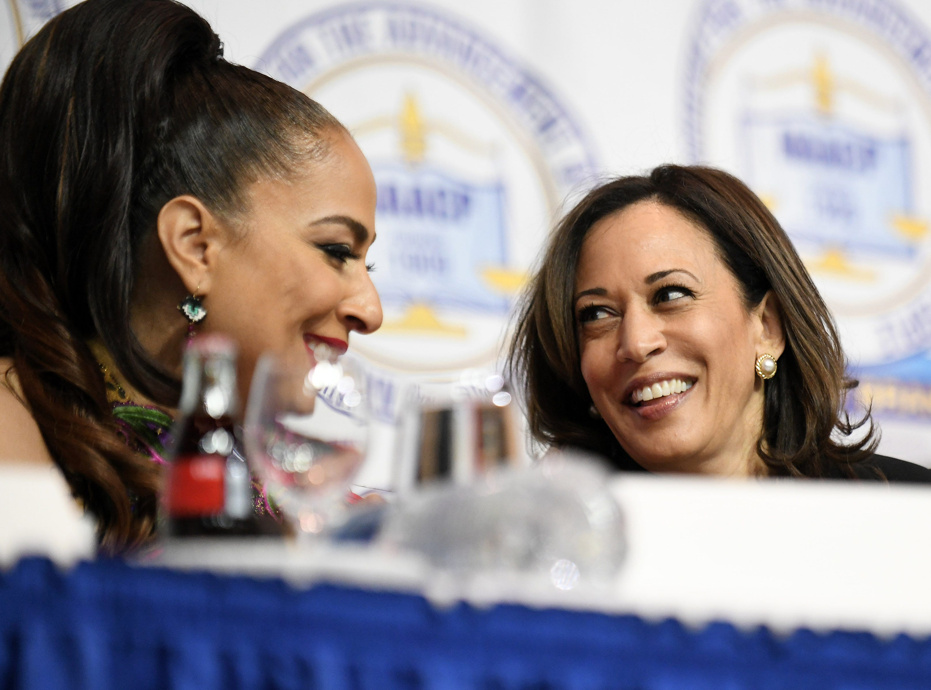 U.S. Sen. Kamala Harris of California, right, at the NAACP 64th Annual Fight For Freedom Fund Dinner at Cobo Center in Detroit on May 5, 2019.