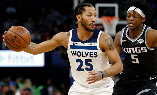 Point guard Derrick Rose, left, enjoyed a career renaissance last season with the Timberwolves.
