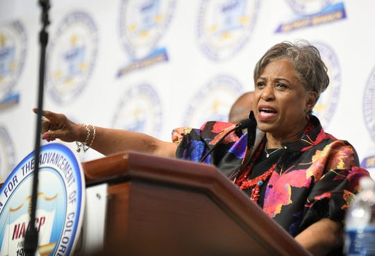 U.S. Rep. Brenda Lawrence speaks at the NAACP 64th Annual Fight For Freedom Fund Dinner at Cobo Center.