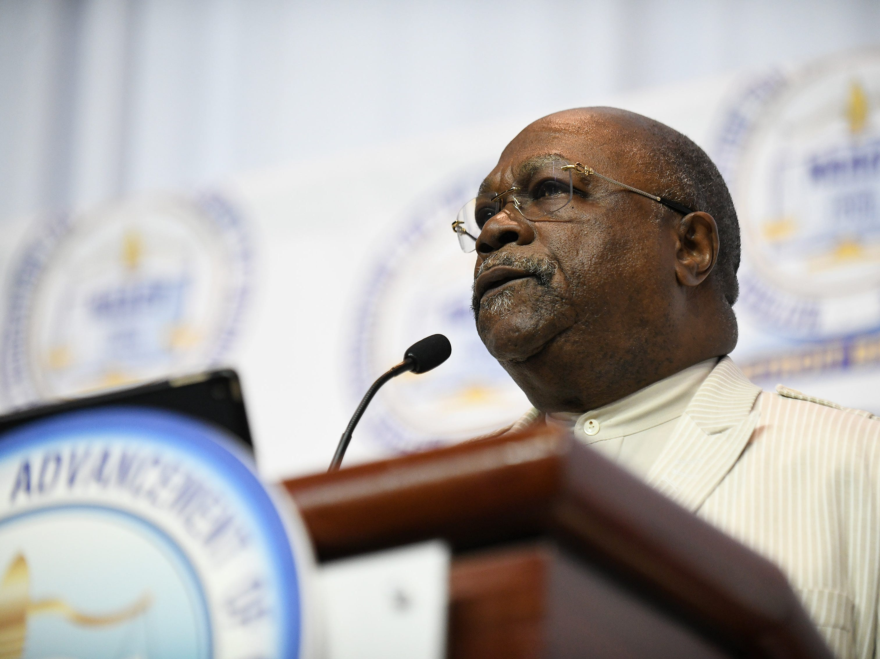 NAACP Detroit president Rev. Dr. Wendell Anthony welcomes guests to the NAACP 64th Annual Fight For Freedom Fund Dinner at Cobo Center in Detroit on May 5, 2019.