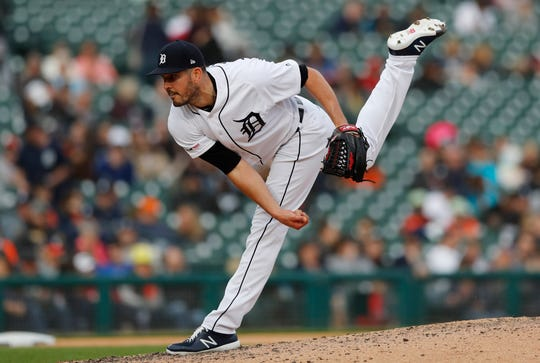 Detroit Tigers relief pitcher Drew VerHagen throws during the eighth inning.
