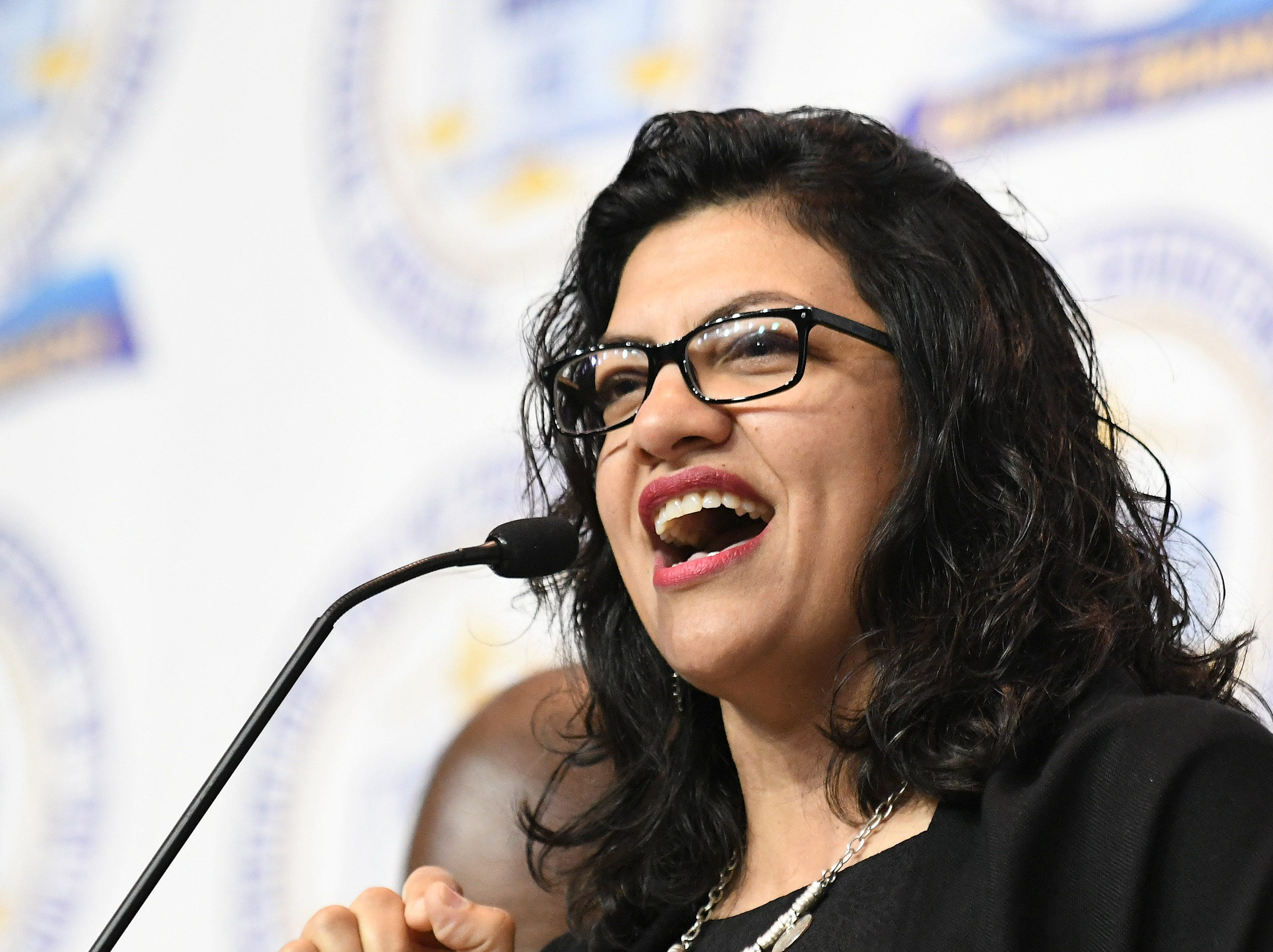 U.S. Rep. Rashida Tlaib speaks at the NAACP 64th Annual Fight For Freedom Fund Dinner at Cobo Center.