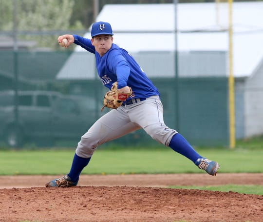 Eli Schooley pitches for Horseheads in the first game of a doubleheader against Elmira on May 4, 2019 at Dunn Field.