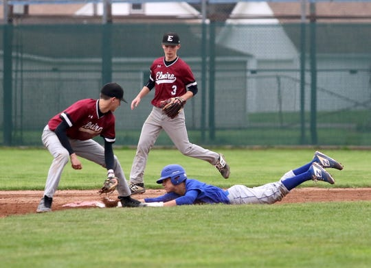 Action from the baseball doubleheader between Elmira and Horseheads on May 4, 2019 at Dunn Field.