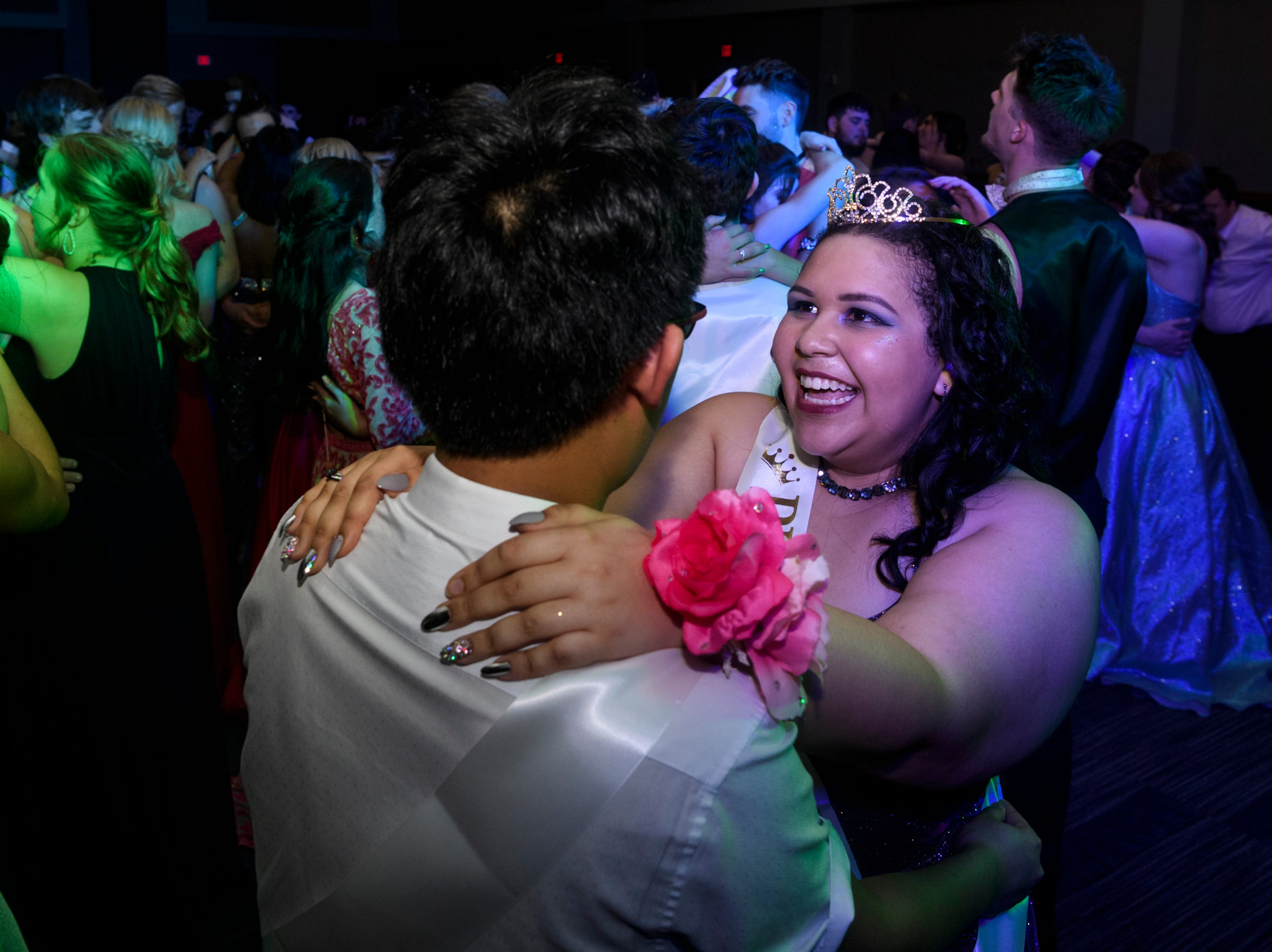 Prom King and Queen Yuxuan Bai, left, and Bralyn Shripka, right, share a dance after being crowned during Mt. Vernon's prom at University of Southern Indiana's Carter Hall in Evansville, Ind., Saturday, May 4, 2019.