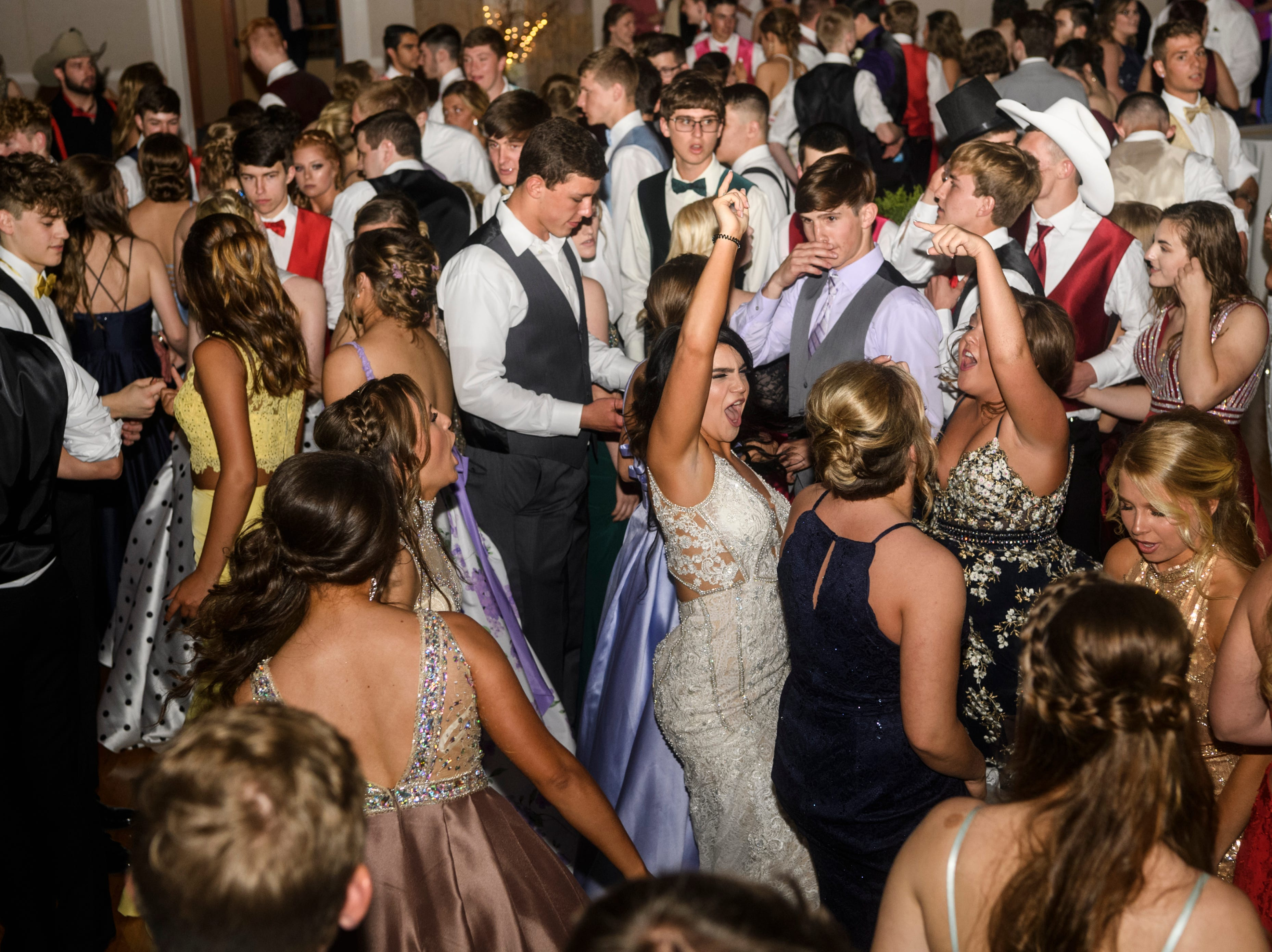 Students dance the night away during North Posey's prom held at the Ribeyre Center in New Harmony, Ind., Saturday, May 4, 2019.
