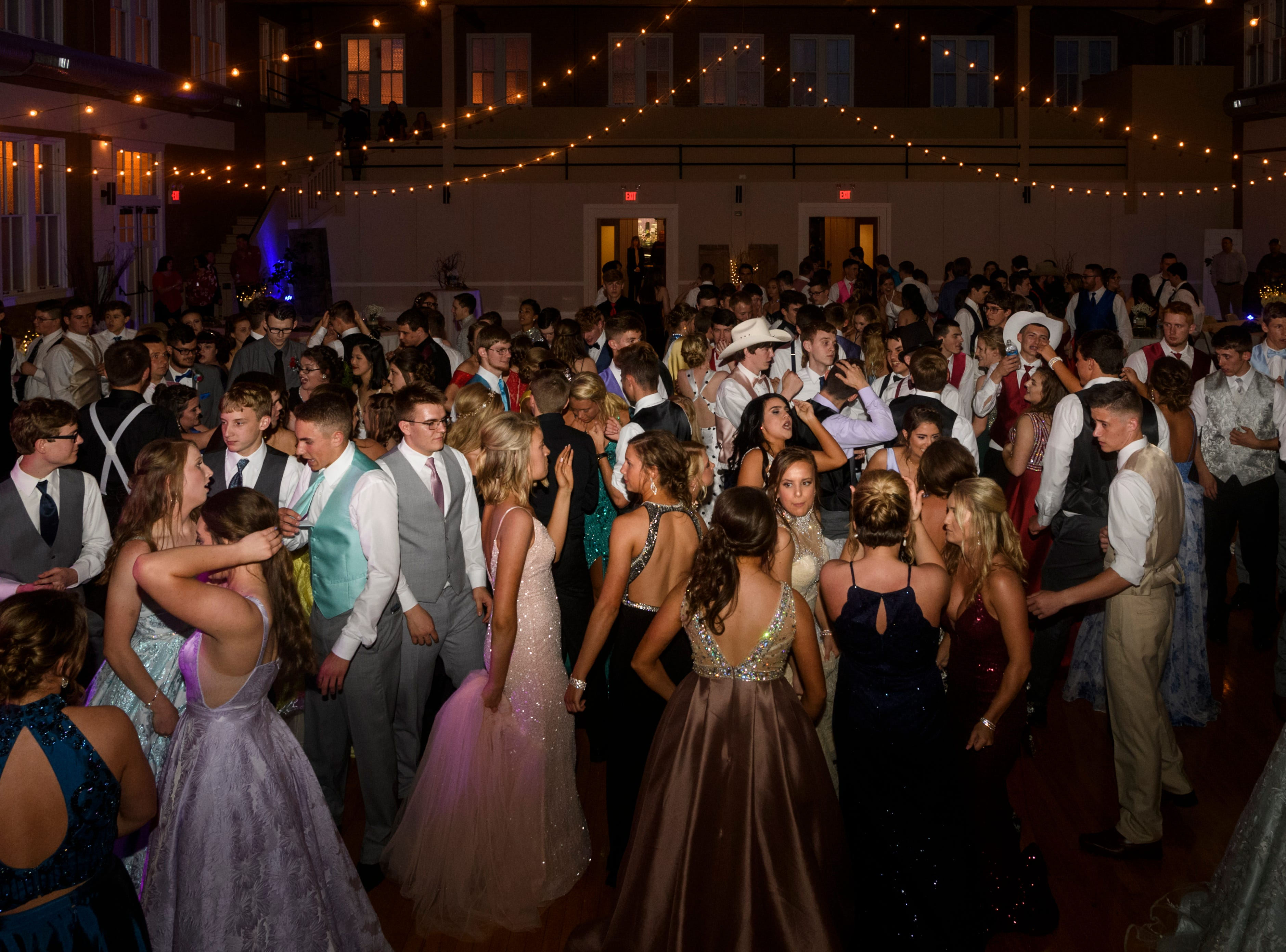 North Posey students dance the night away during prom held at the Ribeyre Center gymnasium in New Harmony, Ind., Saturday night, May 4, 2019.