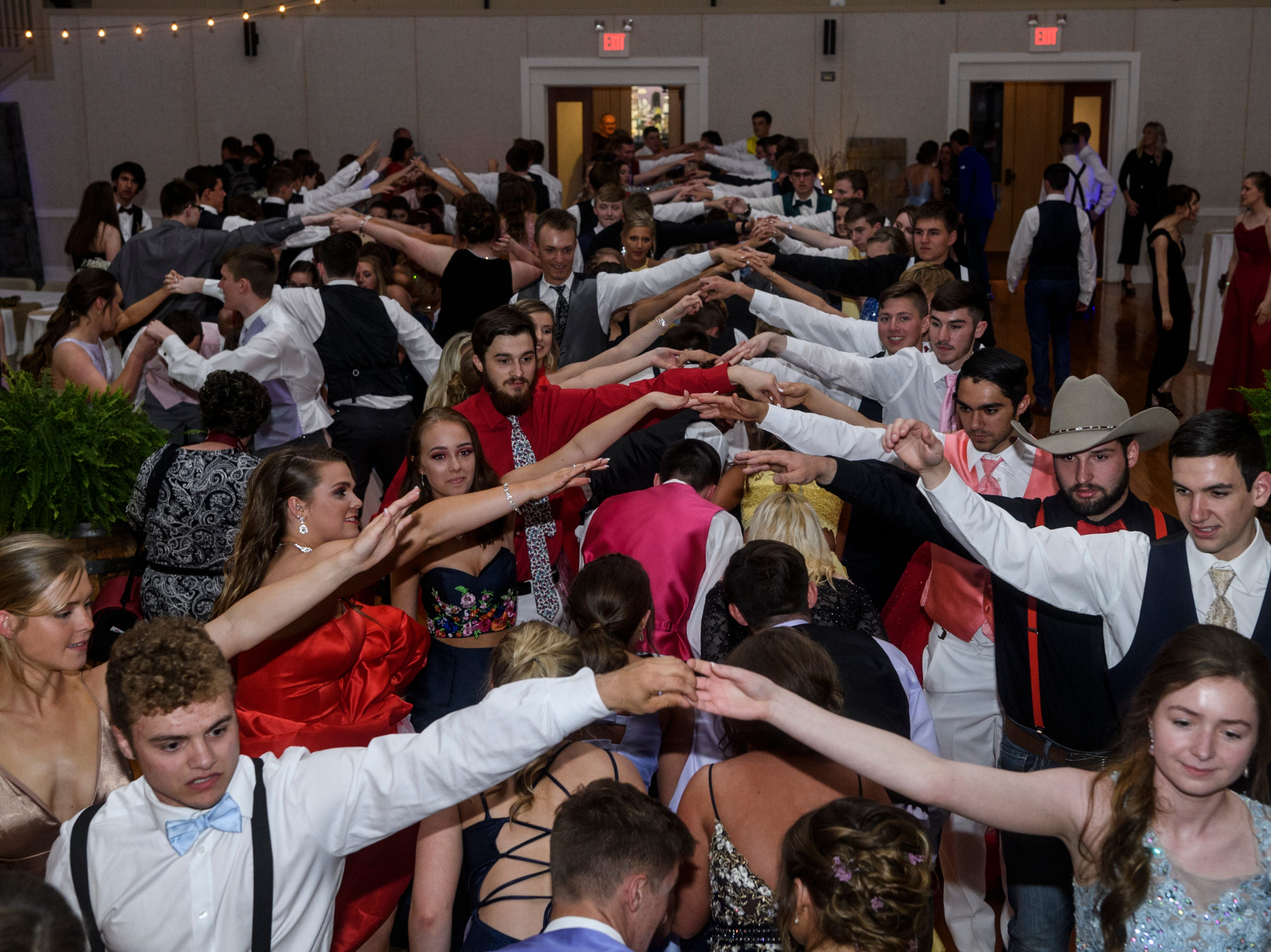 Students dance the night away during North Posey's prom held at the Ribeyre Center gymnasium in New Harmony, Ind., Saturday, May 4, 2019.