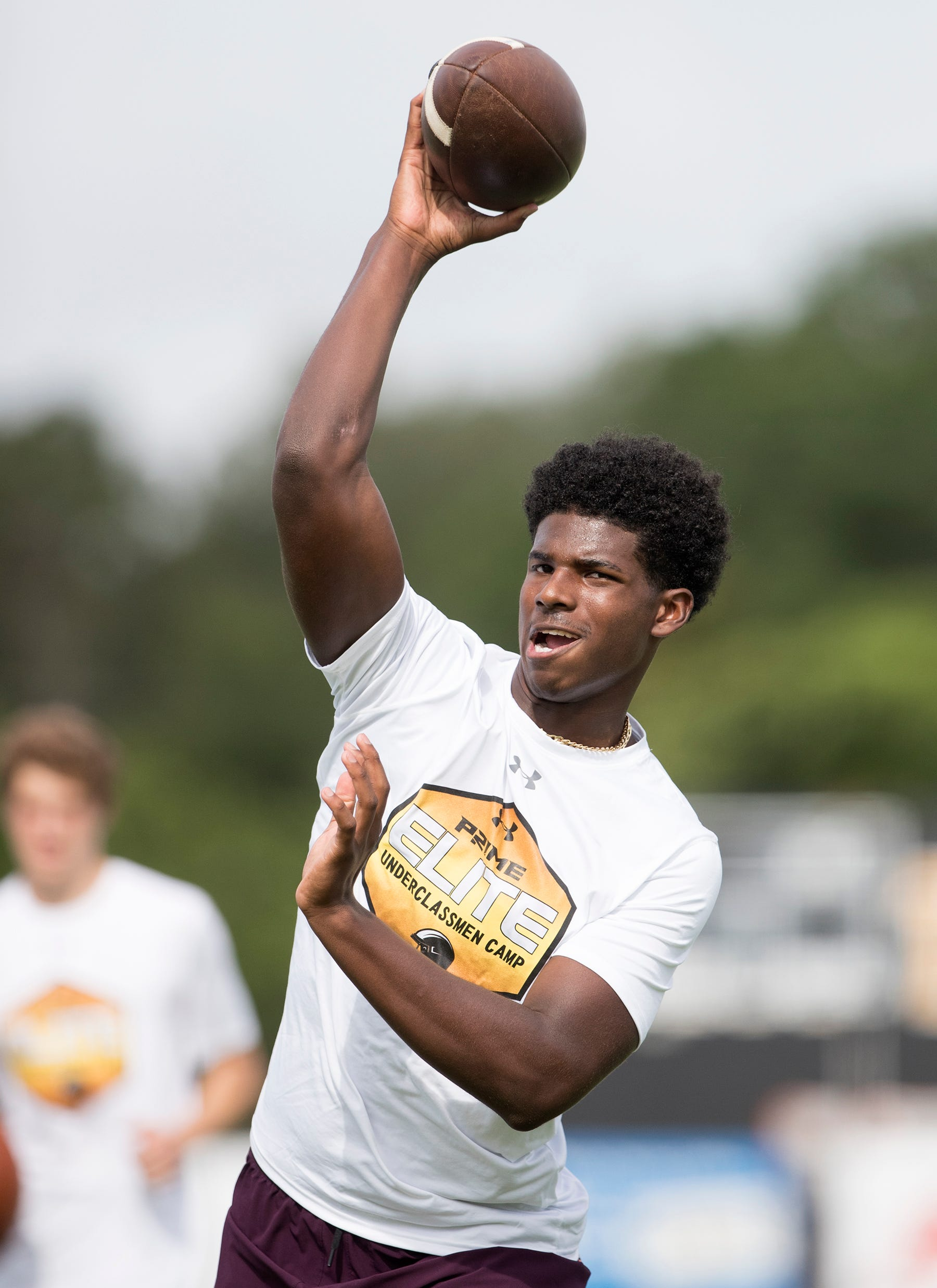 Trinity Christian Shedeur Sanders competes in the Prime Elite Underclassmen Football Camp on Sunday at Bishop Verot in Fort Myers. More than 700 middle and high school athletes attended the camp that was put on by Under Armour and Deion Sanders.