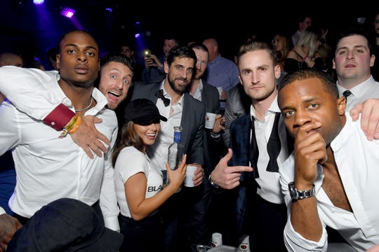 Davante Adams, Kliff Kingsbury, Aaron Rodgers, Corey Linsley and Randall Cobb attend the ninth annual Fillies & Stallions Kentucky Derby party hosted by Black Rock Thoroughbreds and sponsored by Tito's Vodka at Mellwood Arts & Entertainment Center on May 3 in Louisville, Kentucky.