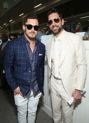 Detroit Lions wide receiver Danny Amendola, left, and Green Bay Packers quarterback Aaron Rodgers attend the  Kentucky Derby on May 4.