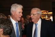 Former Green Bay Packers general managers Ted Thompson, left, and Ron Wolf talk during the Green Bay Packers Hall of Fame Inc. banquet Saturday, May 4, 2019, at Lambeau Field. Thompson was inducted into the Packers Hall of Fame.
