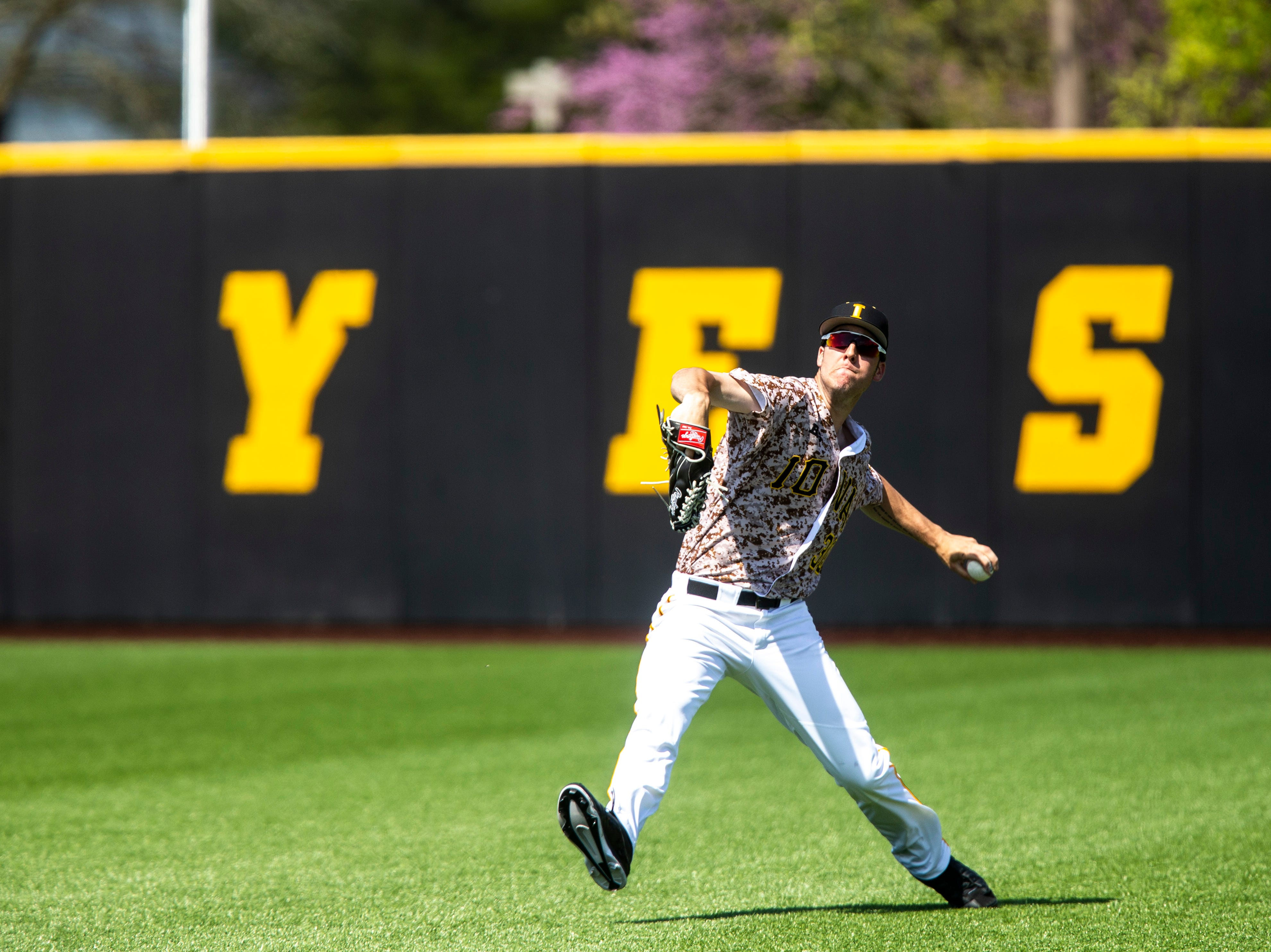 Iowa's Connor McCaffery (30) throws a ball to the infield during a NCAA non conference baseball game, Sunday, May 5, 2019, at Duane Banks Field in Iowa City, Iowa.