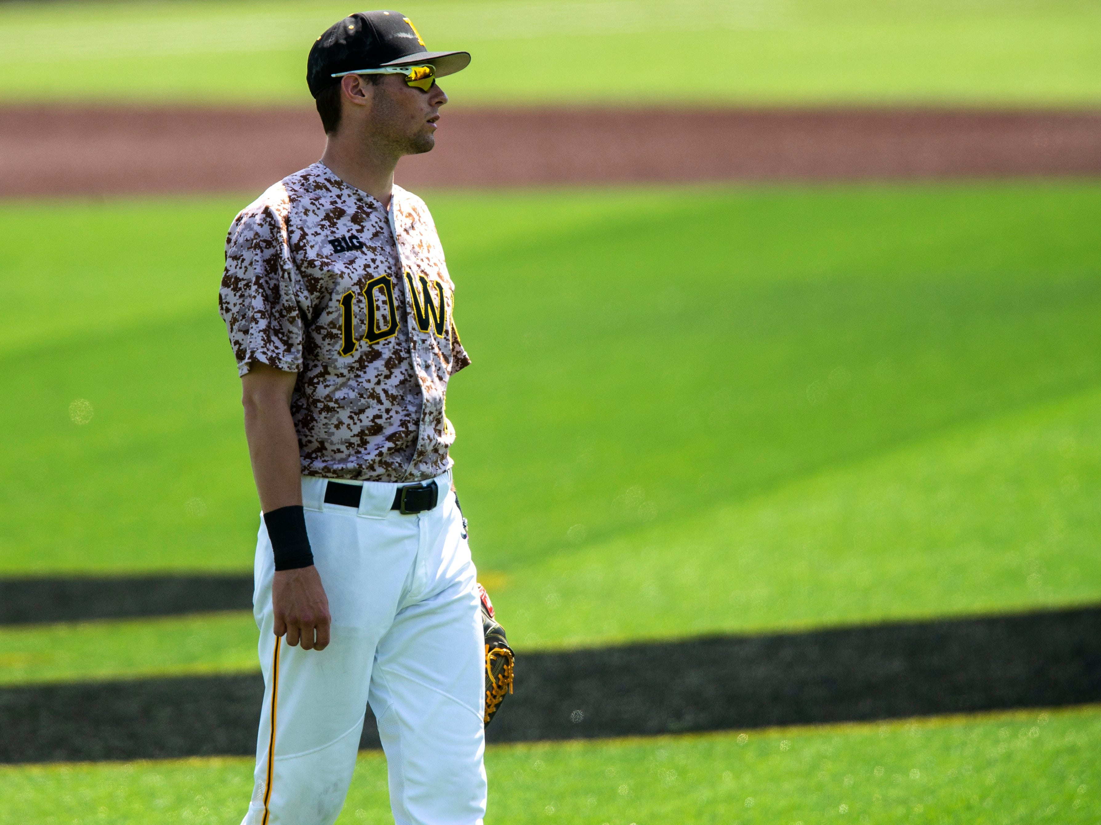 Iowa outfielder Ben Norman (9) stands in center field during a NCAA non conference baseball game, Sunday, May 5, 2019, at Duane Banks Field in Iowa City, Iowa.
