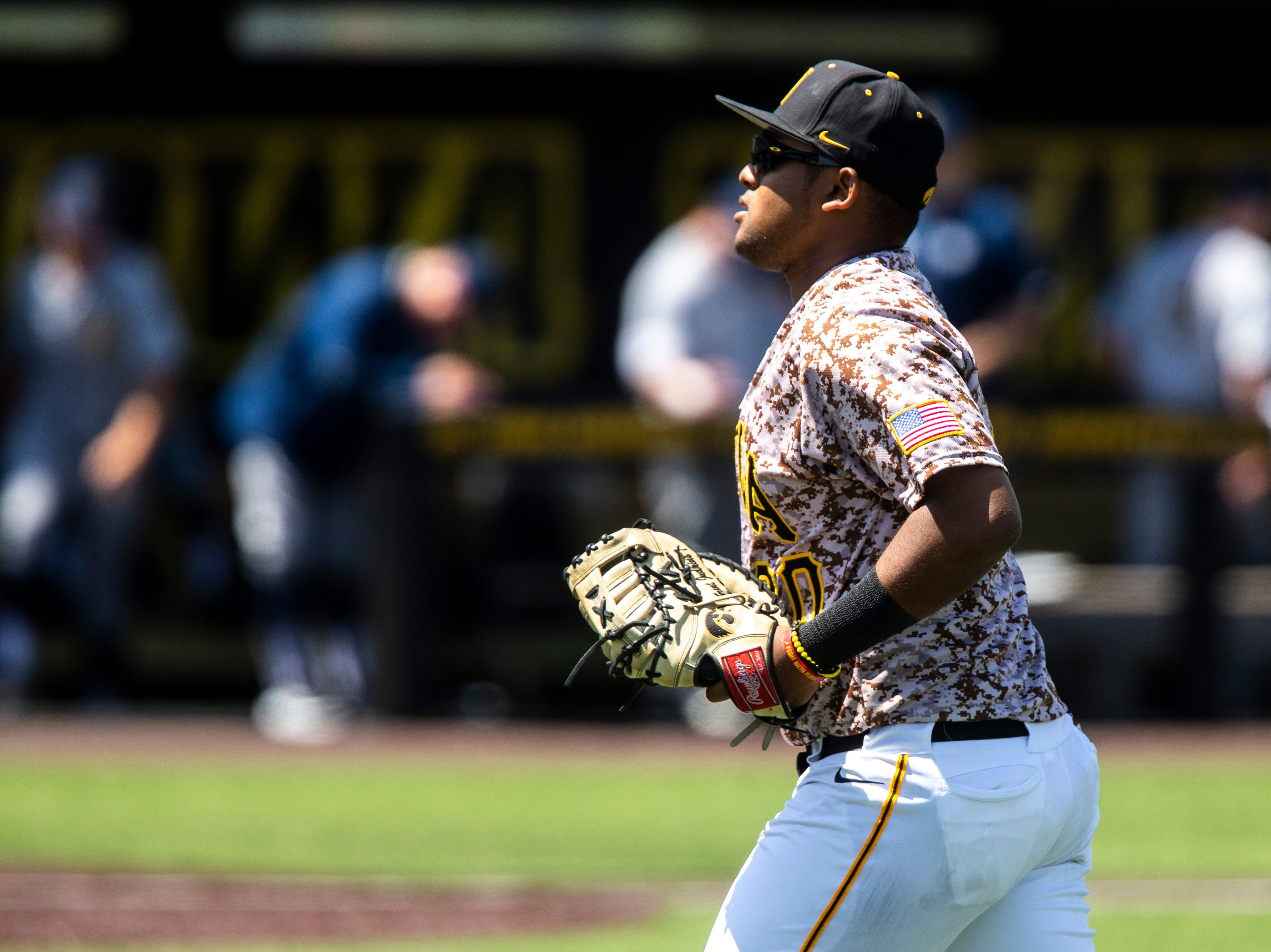 Iowa infielder Izaya Fullard (20) is pictured during a NCAA non conference baseball game, Sunday, May 5, 2019, at Duane Banks Field in Iowa City, Iowa.