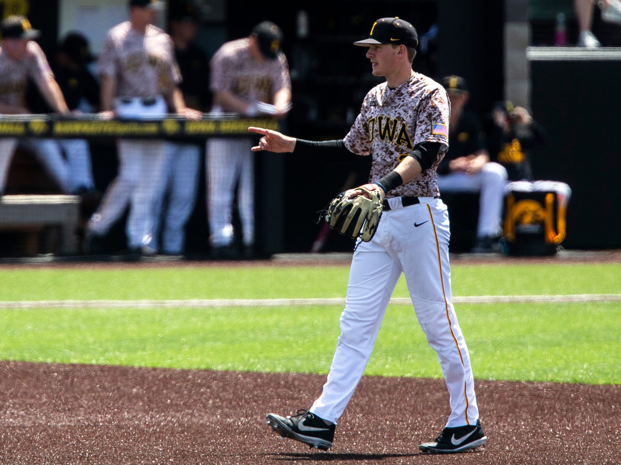Iowa infielder Brendan Sher (2) gestures after a second out during a NCAA non conference baseball game, Sunday, May 5, 2019, at Duane Banks Field in Iowa City, Iowa.
