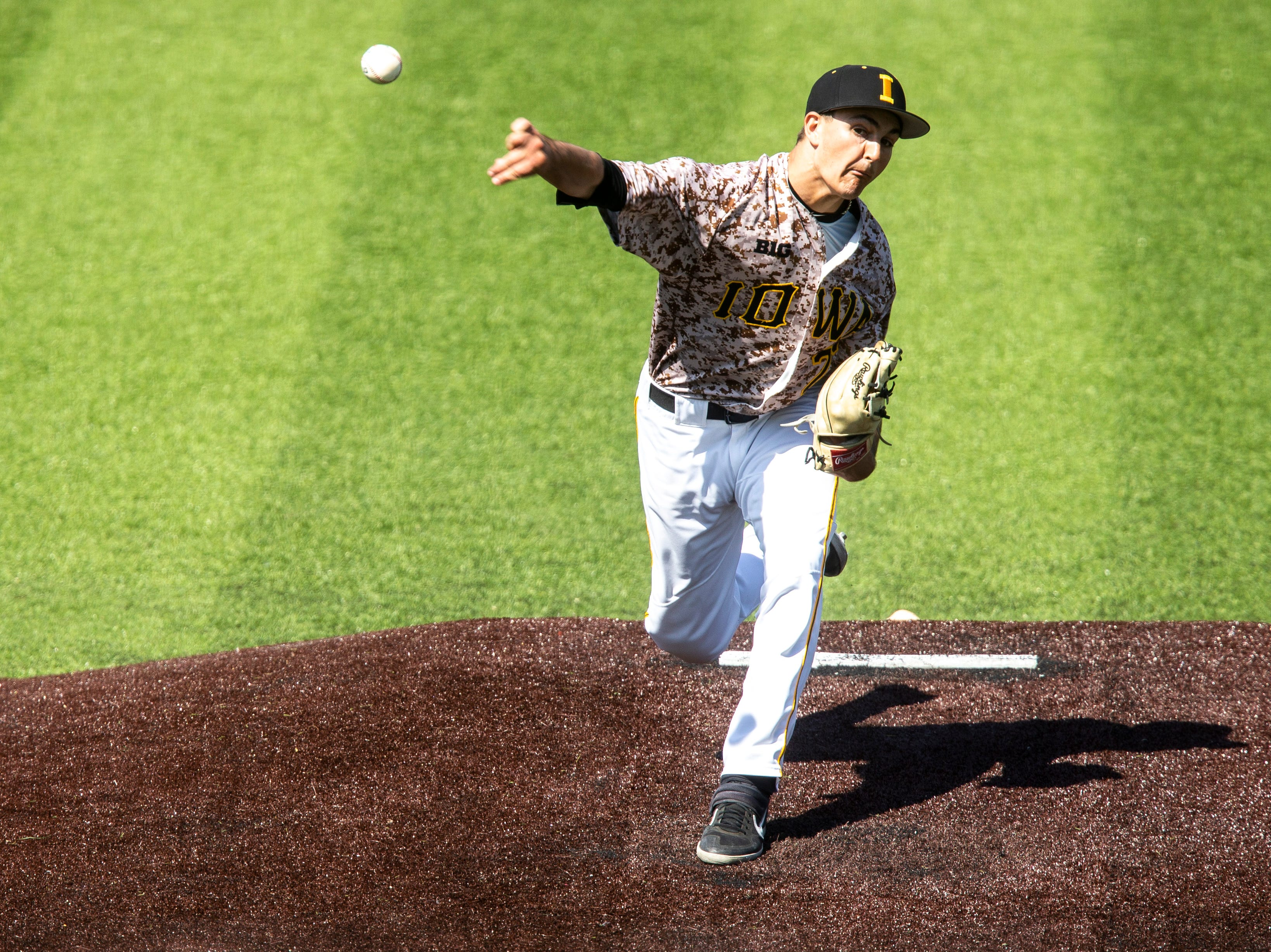 Iowa's Jason Foster (27) delivers a pitch during a NCAA non conference baseball game, Sunday, May 5, 2019, at Duane Banks Field in Iowa City, Iowa.