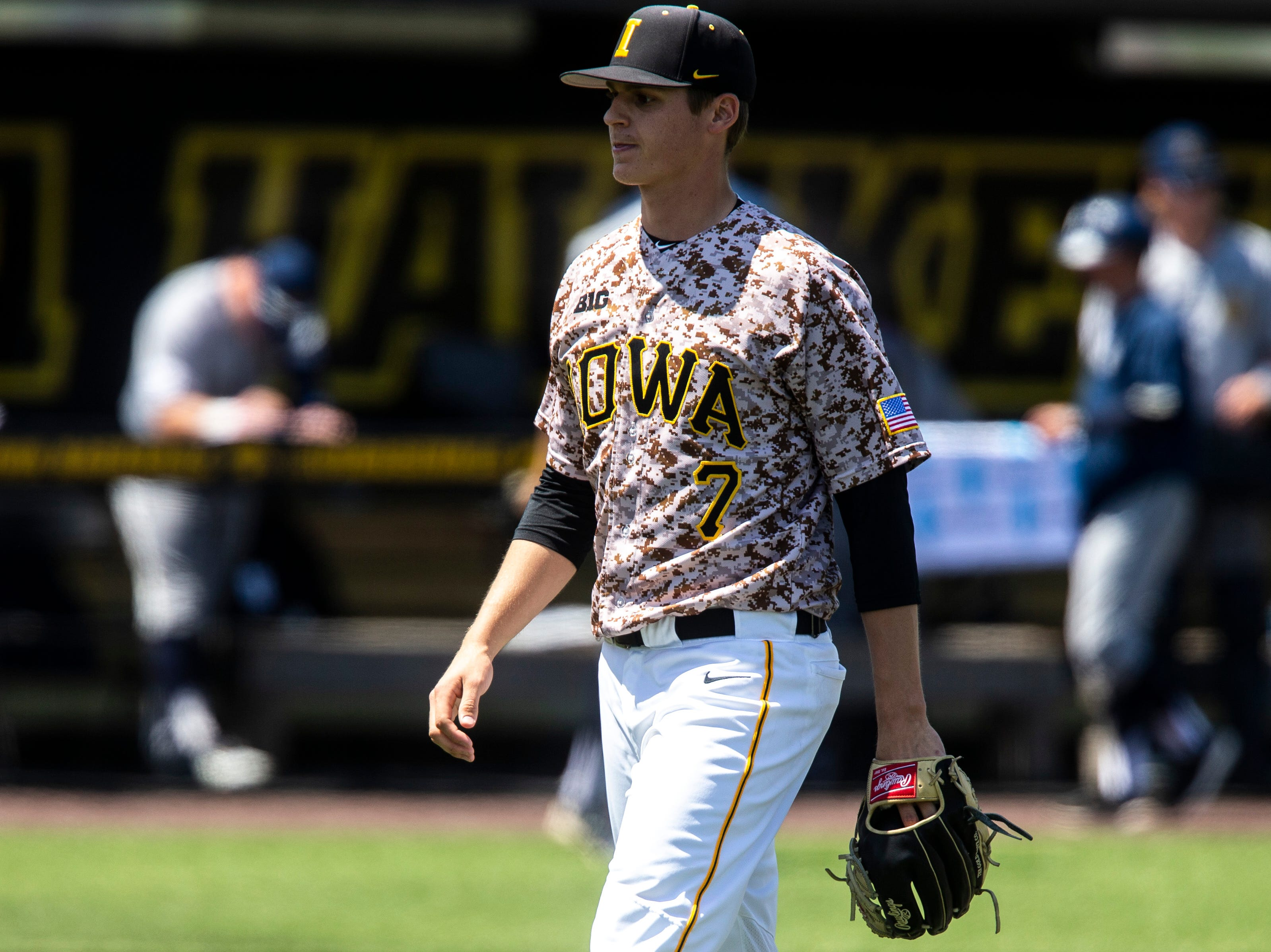 Iowa pitcher Grant Judkins (7) walks back to the dugout during a NCAA non conference baseball game, Sunday, May 5, 2019, at Duane Banks Field in Iowa City, Iowa.