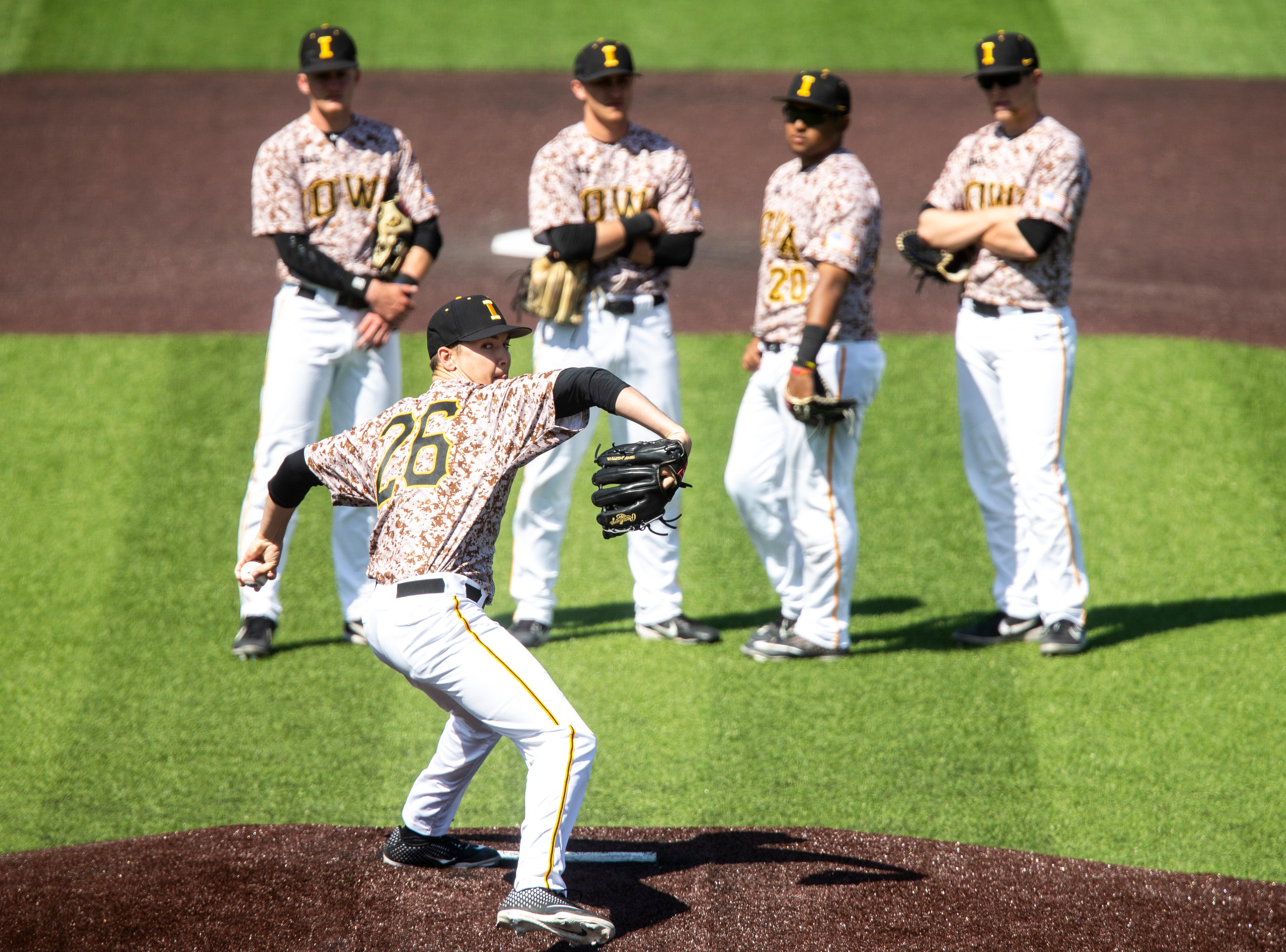 Iowa pitcher Adam Ketelsen (26) warms up during a NCAA non conference baseball game, Sunday, May 5, 2019, at Duane Banks Field in Iowa City, Iowa.