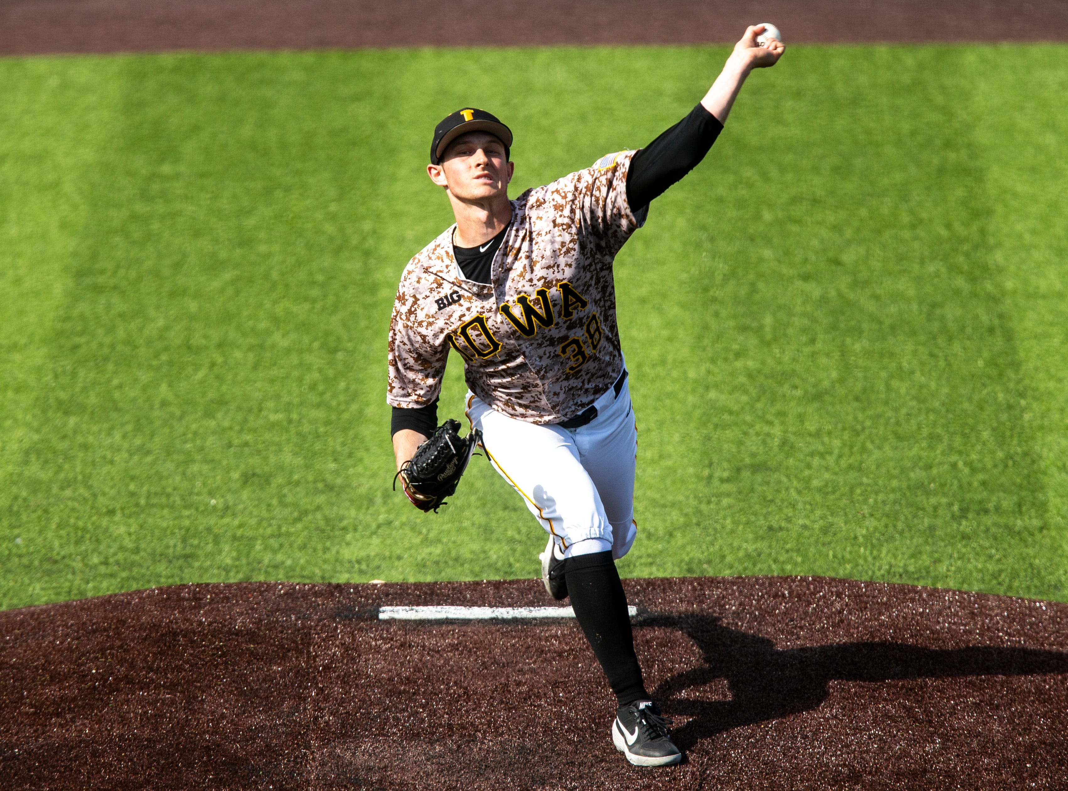 Iowa's Trenton Wallace (38) delivers a pitch during a NCAA non conference baseball game, Sunday, May 5, 2019, at Duane Banks Field in Iowa City, Iowa.