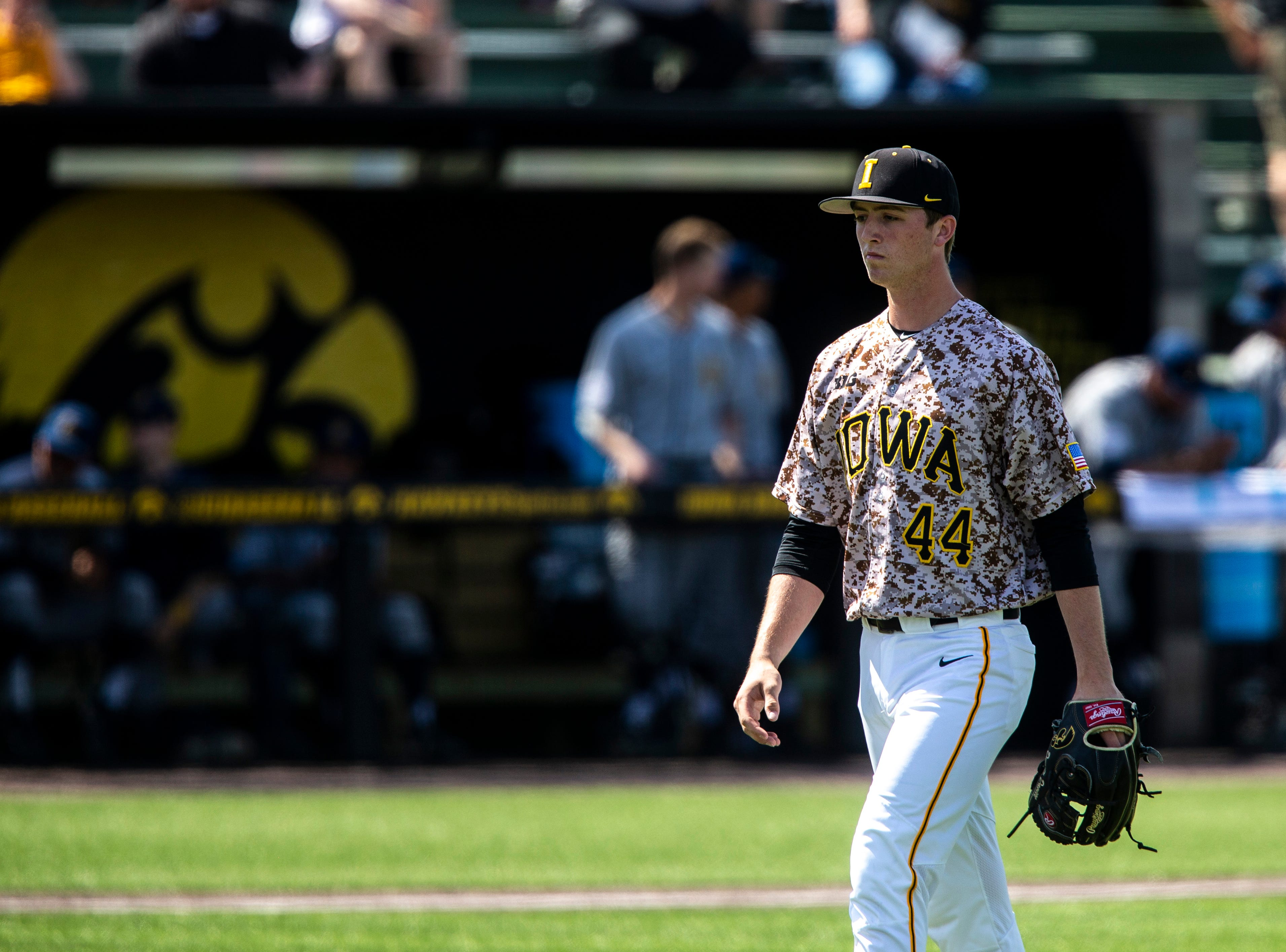 Iowa pitcher Duncan Davitt (44) walks off the mound during a NCAA non conference baseball game, Sunday, May 5, 2019, at Duane Banks Field in Iowa City, Iowa.
