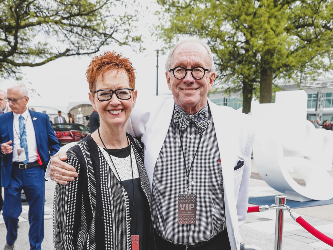 Steve and Barbara Butz walks and roll the red carpet at the Rev Indy fundraiser, held at the Indianapolis Motor Speedway on Saturday, May 4, 2019. Funds raised support the IU Health Foundation statewide and the IU Health Emergency Medical Center at IMS.