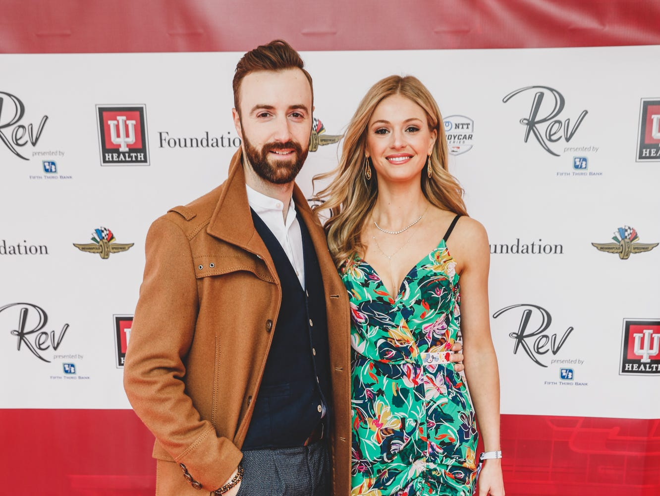 IndyCar driver James Hinchcliffe and fiancee an actress, Becky Dalton, walk the red carpet at the Rev Indy fundraiser, held at the Indianapolis Motor Speedway on Saturday, May 4, 2019. Funds raised support the IU Health Foundation statewide and the IU Health Emergency Medical Center at IMS.