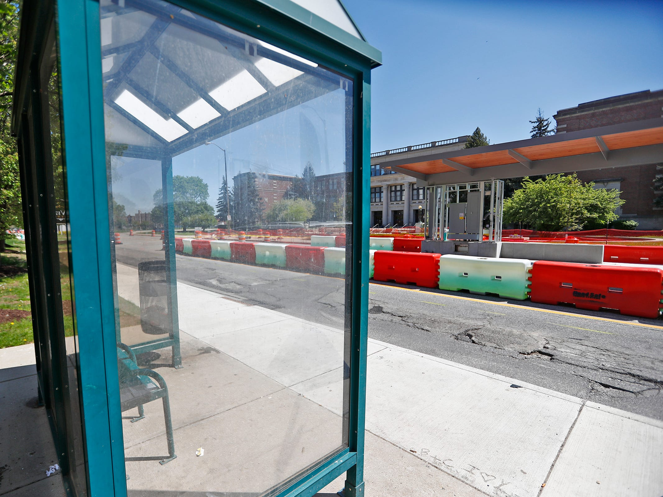 A bus passenger shelter is seen across from Red Line construction in the 3400 block of Meridian St., Sunday, May 5, 2019.  The City has updated the timeline when the Red Line Bus Rapid Transit system should open, which is later in 2019 summer.