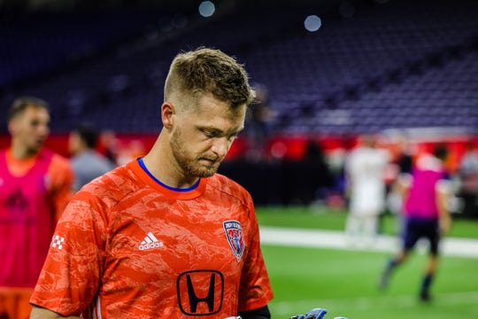 Indy Eleven goal keeper Evan Newton exits the field following the team's 0-0 match against North Carolina FC at Lucas Oil Stadium on Saturday. Josh Hicks/for IndyStar