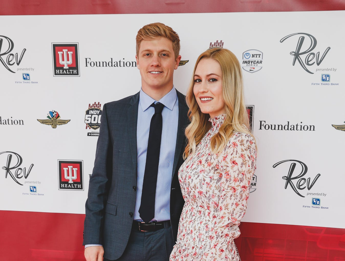IndyCar driver Spencer Pigot and Katie Bell walk the red carpet at the Rev Indy fundraiser, held at the Indianapolis Motor Speedway on Saturday, May 4, 2019. Funds raised support the IU Health Foundation statewide and the IU Health Emergency Medical Center at IMS.