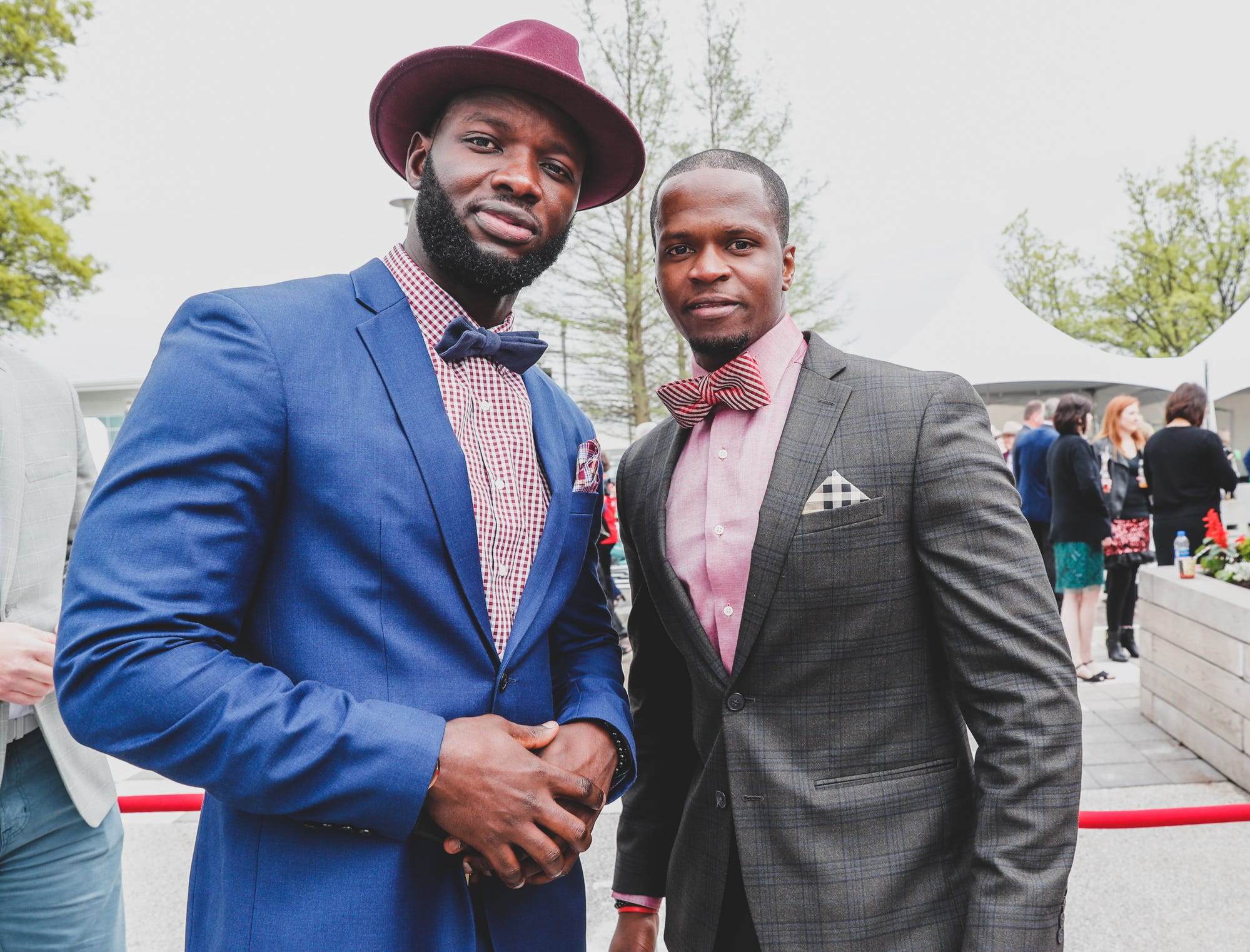 Guests Bapa Dieng, left, and Racine Gueye dress to impress at the Rev Indy fundraiser, held at the Indianapolis Motor Speedway on Saturday, May 4, 2019. Funds raised support the IU Health Foundation statewide and the IU Health Emergency Medical Center at IMS.