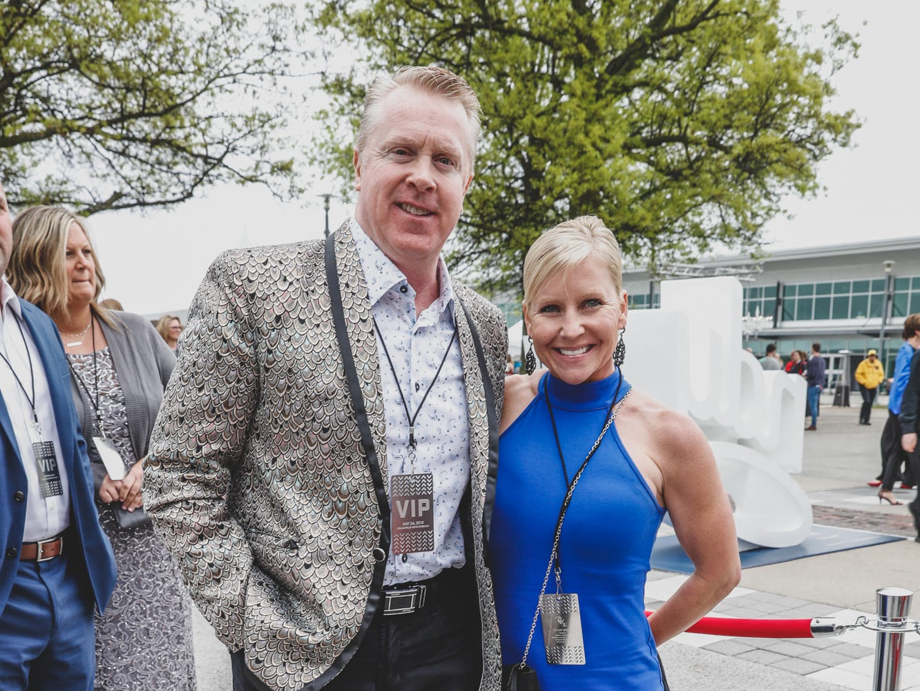 Tim and Christy Roberts IndyCar walk the red carpet at the Rev Indy fundraiser, held at the Indianapolis Motor Speedway on Saturday, May 4, 2019. Funds raised support the IU Health Foundation statewide and the IU Health Emergency Medical Center at IMS.