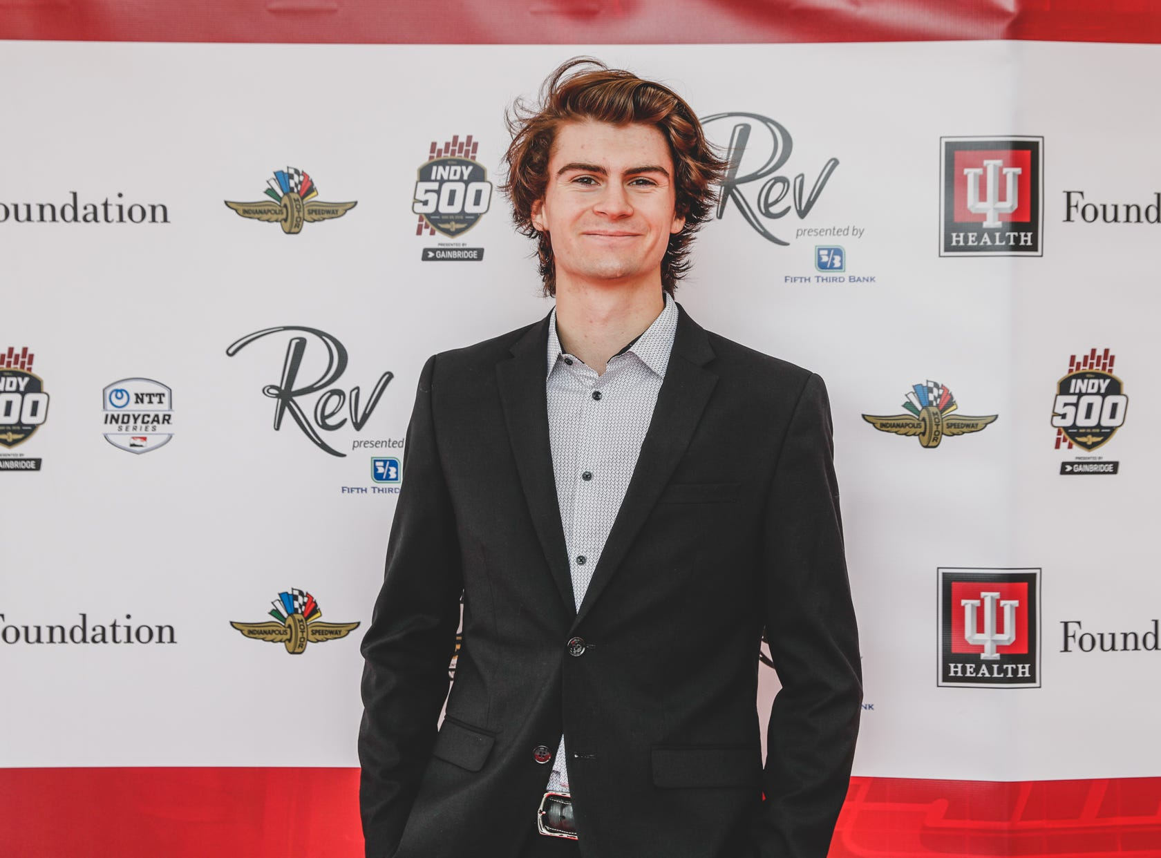 IndyCar driver Colton Hereta walks the red carpet at the Rev Indy fundraiser, held at the Indianapolis Motor Speedway on Saturday, May 4, 2019. Funds raised support the IU Health Foundation statewide and the IU Health Emergency Medical Center at IMS.