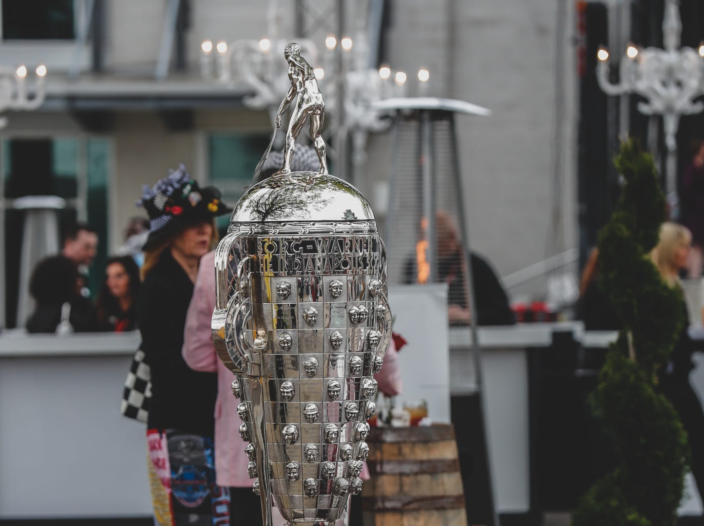 The Borg-Warner Trophy was on display at the Rev Indy fundraiser, held at the Indianapolis Motor Speedway on Saturday, May 4, 2019. Funds raised support the IU Health Foundation statewide and the IU Health Emergency Medical Center at IMS.