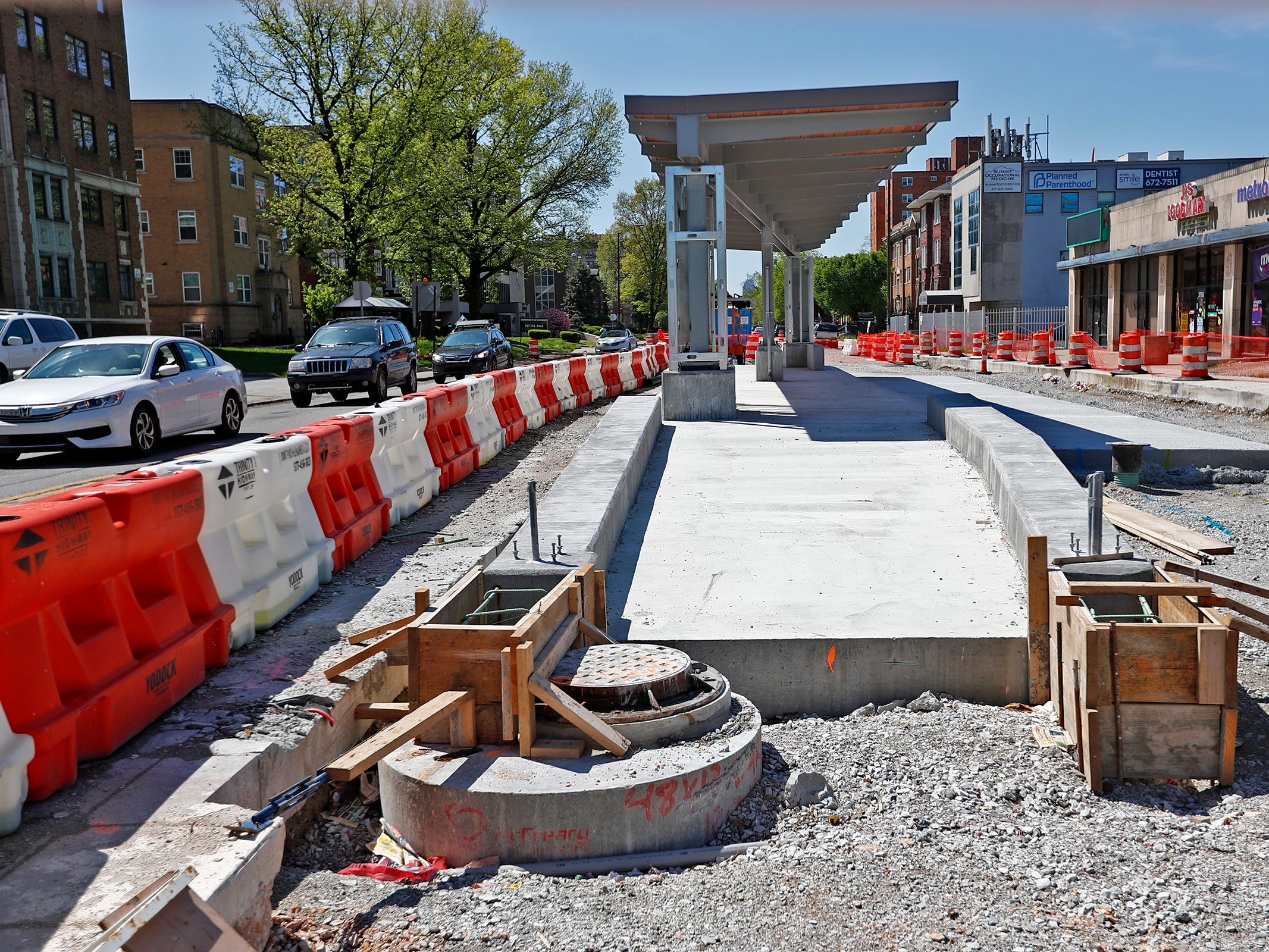 Red Line construction continues in Indianapolis, Sunday, May 5, 2019.  The City has updated the timeline when the Red Line Bus Rapid Transit system should open, which is later in 2019 summer.  This photo shows the station at 38th Street looking south on Meridian St.