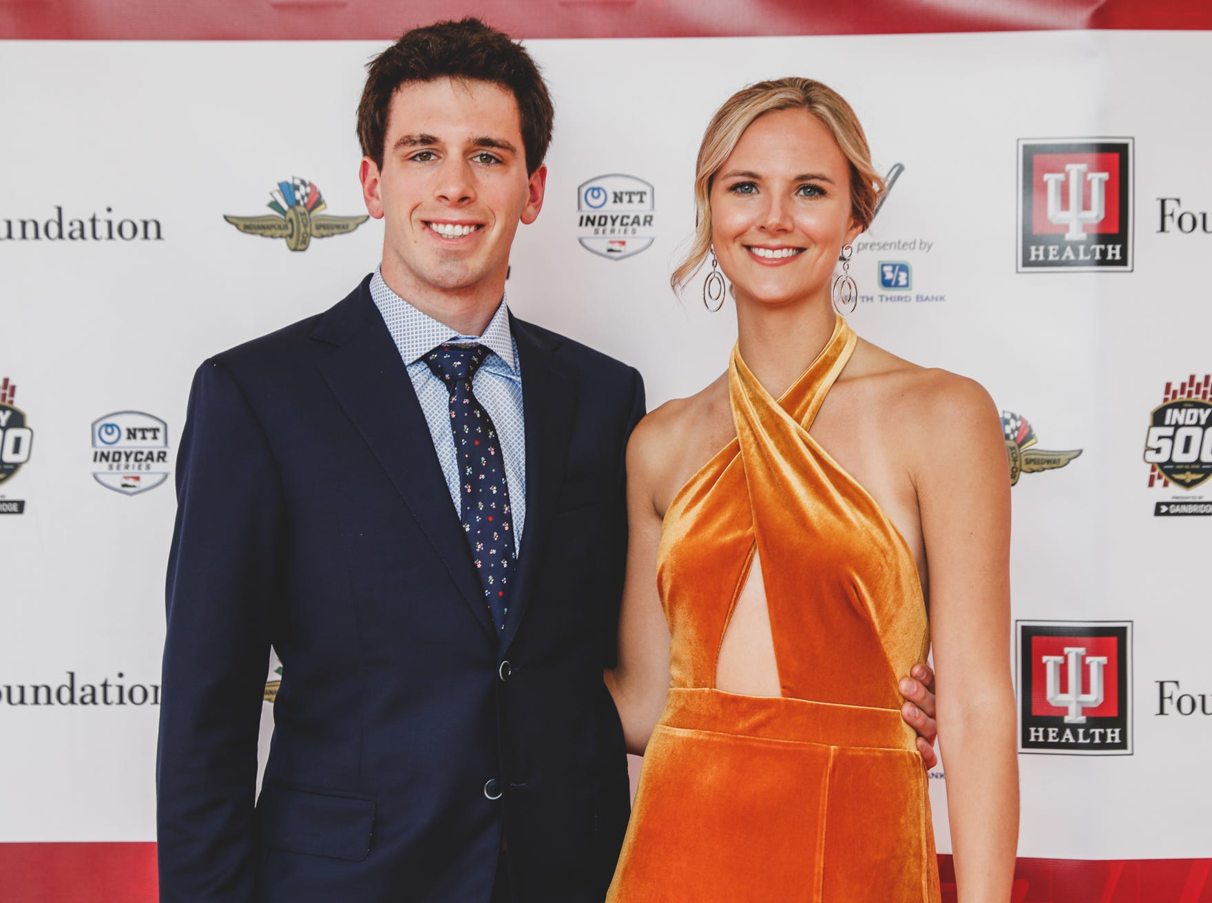 IndyCar driver Dalton Kellet and Nicole Nicole Westra walk the red carpet at the Rev Indy fundraiser, held at the Indianapolis Motor Speedway on Saturday, May 4, 2019. Funds raised support the IU Health Foundation statewide and the IU Health Emergency Medical Center at IMS.