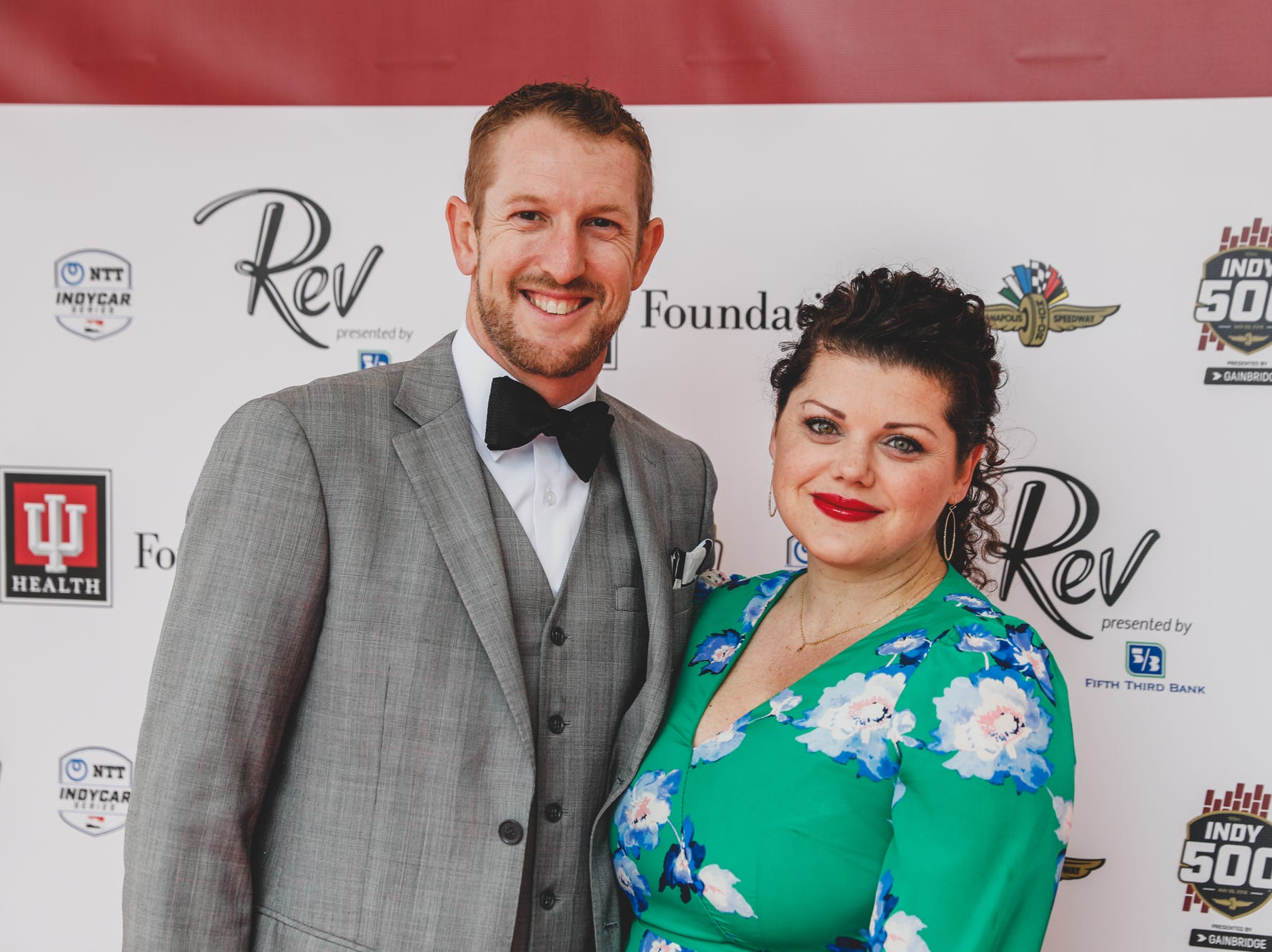 IndyCar Driver Charlie Kimball and wife Kathleen Kimball walk the red carpet at the Rev Indy fundraiser, held at the Indianapolis Motor Speedway on Saturday, May 4, 2019. Funds raised support the IU Health Foundation statewide and the IU Health Emergency Medical Center at IMS.