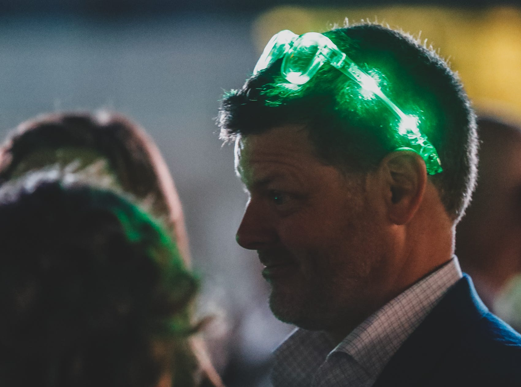 Guests glow at the Rev Indy fundraiser, held at the Indianapolis Motor Speedway on Saturday, May 4, 2019. Funds raised support the IU Health Foundation statewide and the IU Health Emergency Medical Center at IMS.
