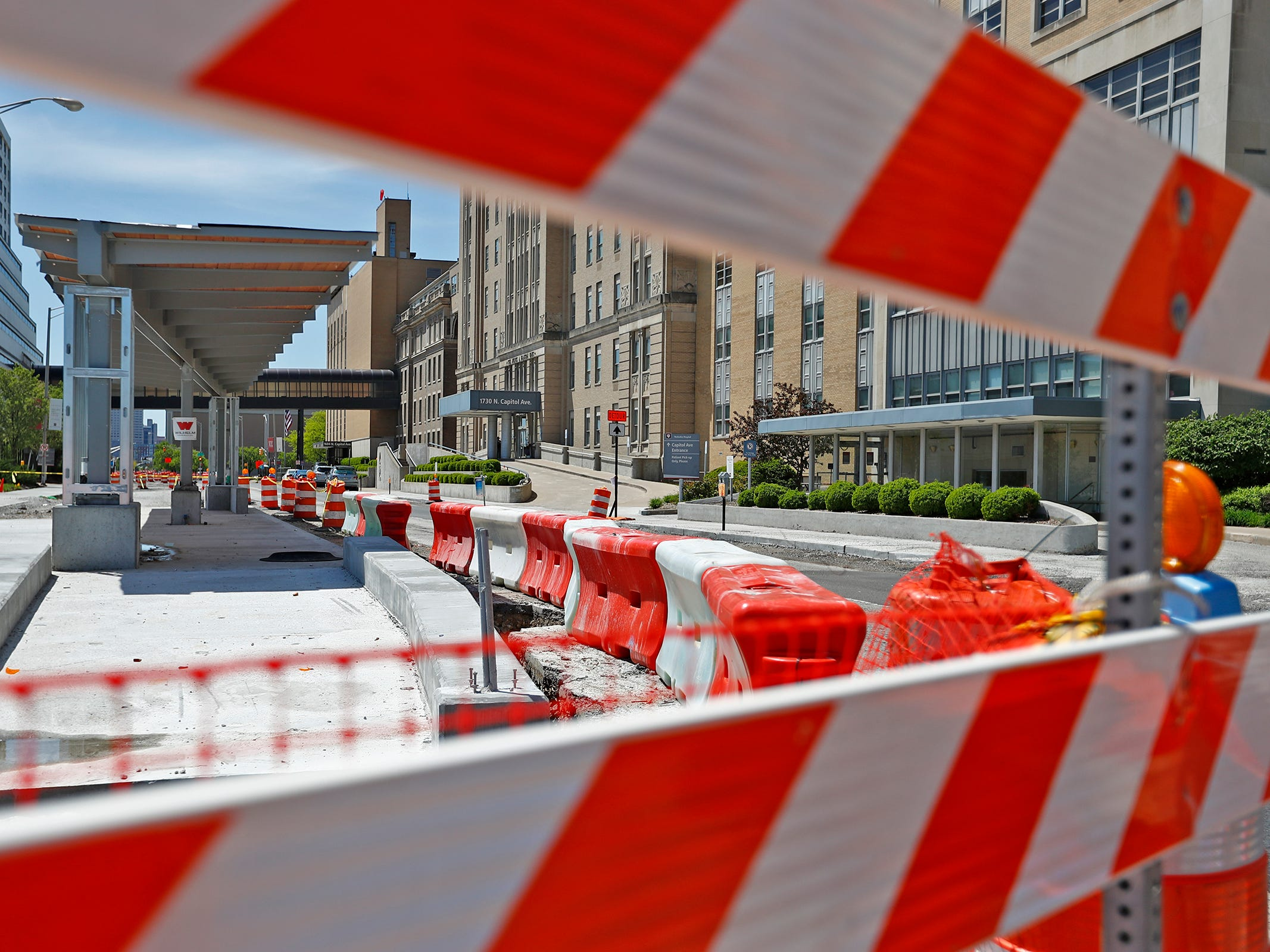 Red Line construction continues in Indianapolis, Sunday, May 5, 2019.  The City has updated the timeline when the Red Line Bus Rapid Transit system should open, which is later in 2019 summer.  This is a station, looking south on Capitol Ave. from 18th St.
