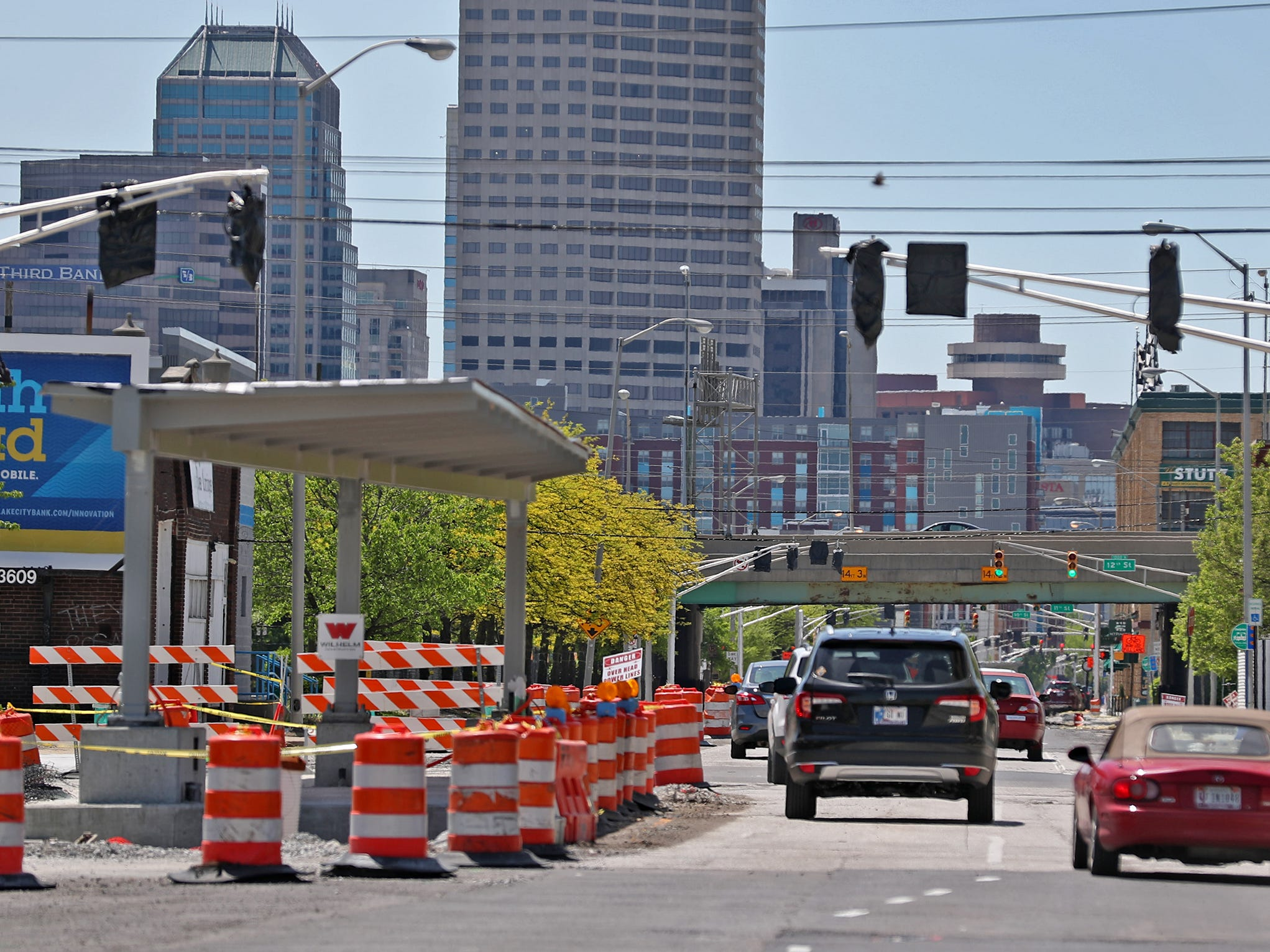 Red Line construction continues in Indianapolis, Sunday, May 5, 2019.  The City has updated the timeline when the Red Line Bus Rapid Transit system should open, which is later in 2019 summer.  This is a station looking south on Capitol Ave. in downtown.