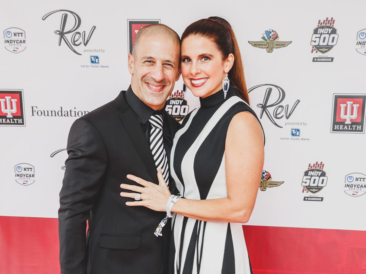 IndyCar driver and Co-Chairs of Rev Indy, Tony and Lauren Kanaan walk the red carpet at the Rev Indy fundraiser, held at the Indianapolis Motor Speedway on Saturday, May 4, 2019. Funds raised support the IU Health Foundation statewide and the IU Health Emergency Medical Center at IMS.