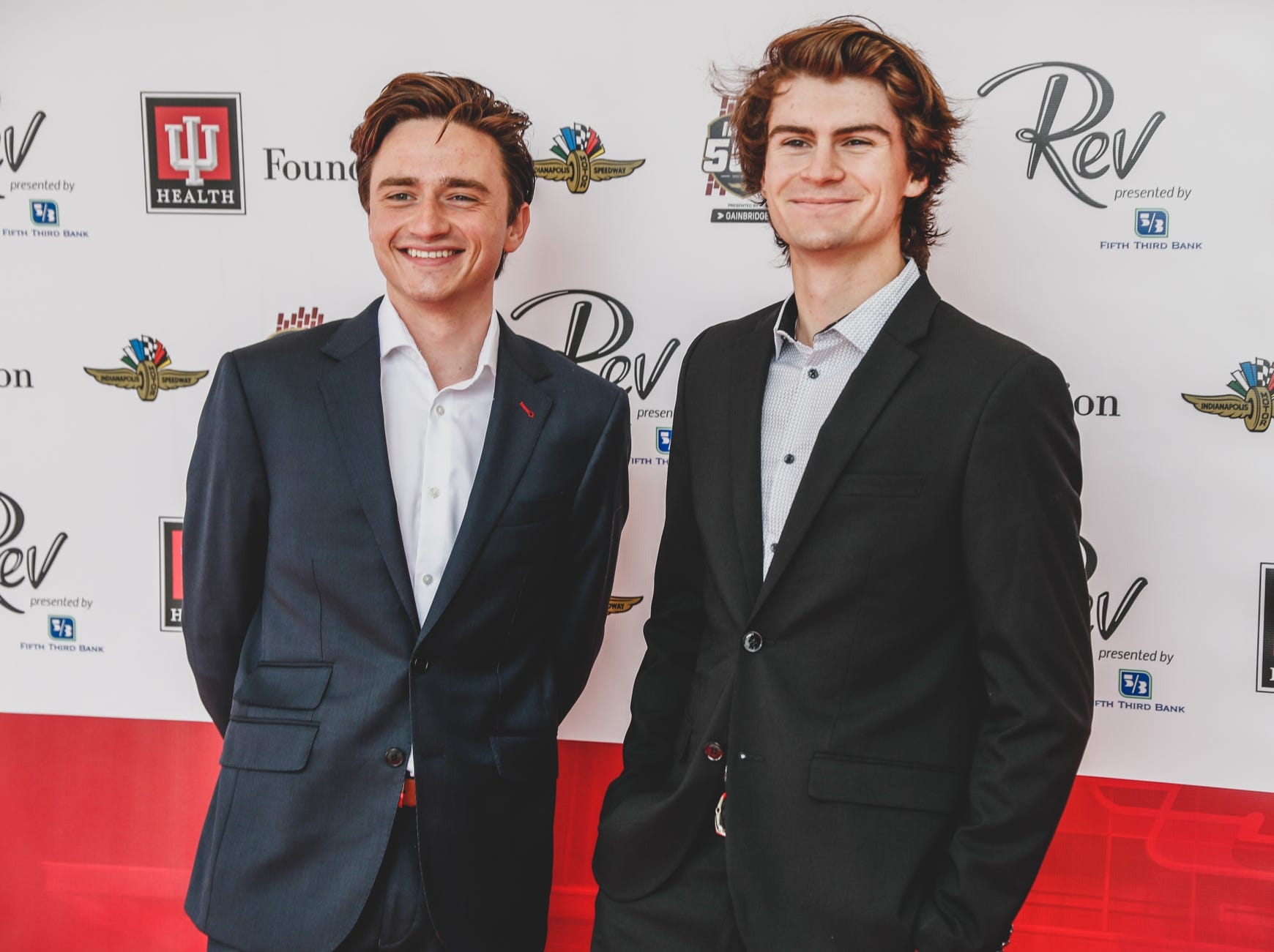 IndyCar team owner, George Steinbrenner IV, left, and IndyCar driver, Colton Hereta, walk the red carpet at the Rev Indy fundraiser, held at the Indianapolis Motor Speedway on Saturday, May 4, 2019. Funds raised support the IU Health Foundation statewide and the IU Health Emergency Medical Center at IMS.