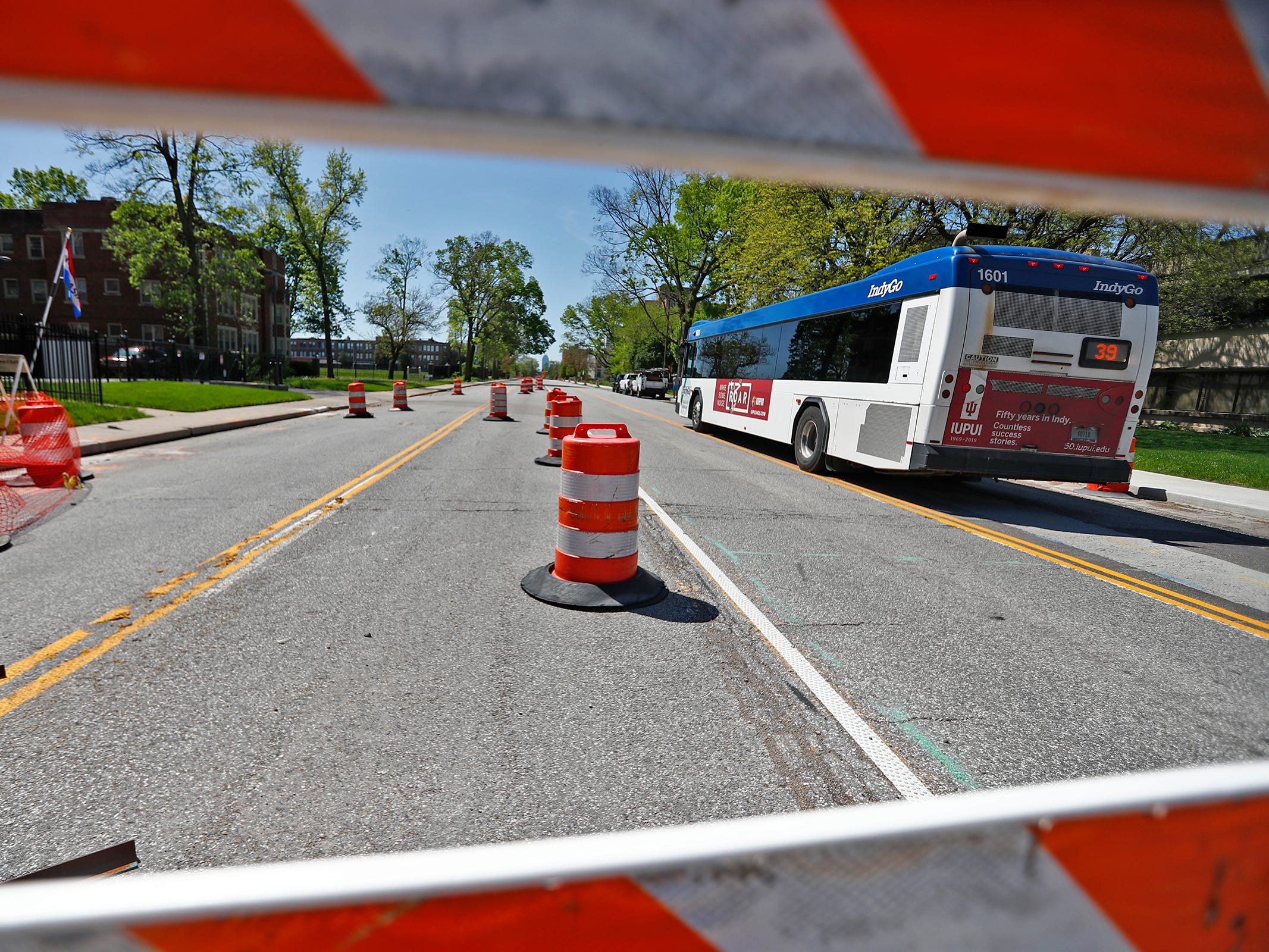 A bus heads south in the 3400 block of Meridian Street, Sunday, May 5, 2019.  The City has updated the timeline when the Red Line Bus Rapid Transit system should open, which is later in 2019 summer.