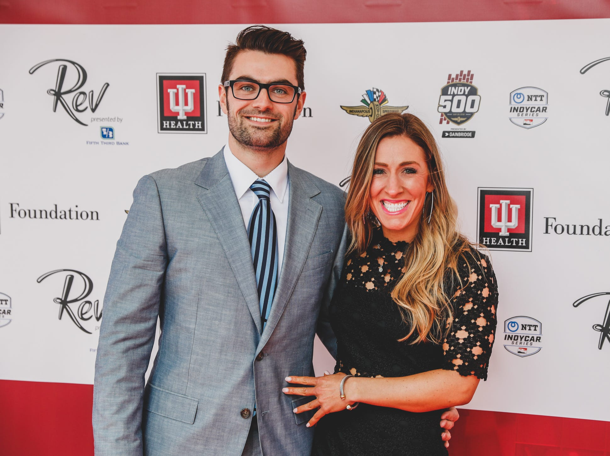 IndyCar driver Jack Harvey and Shelby Dock  walk the red carpet at the Rev Indy fundraiser, held at the Indianapolis Motor Speedway on Saturday, May 4, 2019. Funds raised support the IU Health Foundation statewide and the IU Health Emergency Medical Center at IMS.