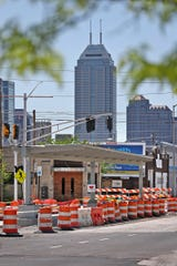 Red Line construction continues in Indianapolis, Sunday, May 5, 2019.  The City has updated the timeline when the Red Line Bus Rapid Transit system should open, which is later in 2019 summer.  This is a station site near 15th St. on Capitol Ave.  Downtown is seen on the horizon.