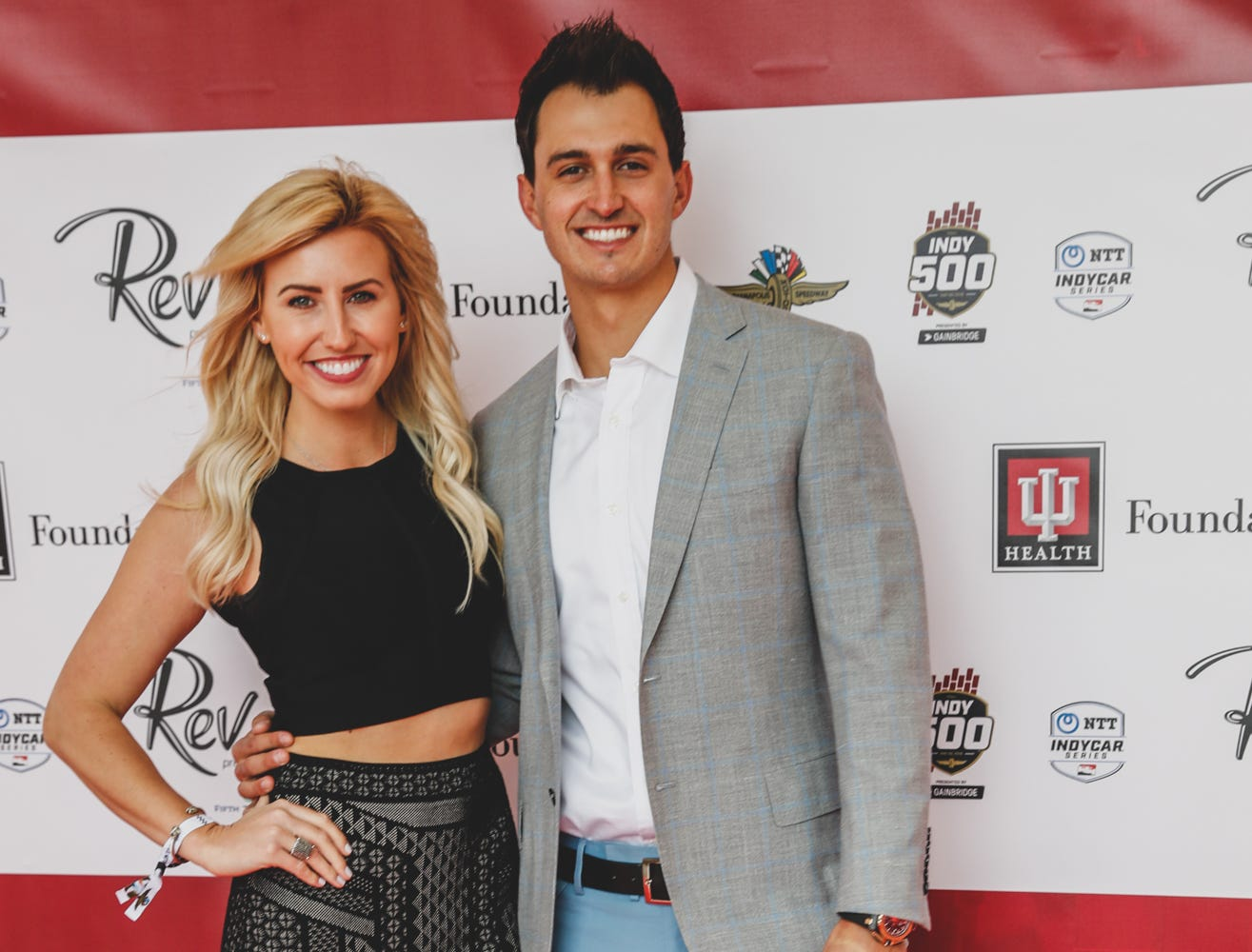 Racing drivers Graham Rahal and his wife Courtney Force walk the red carpet at the Rev Indy fundraiser, held at the Indianapolis Motor Speedway on Saturday, May 4, 2019. Funds raised support the IU Health Foundation statewide and the IU Health Emergency Medical Center at IMS.