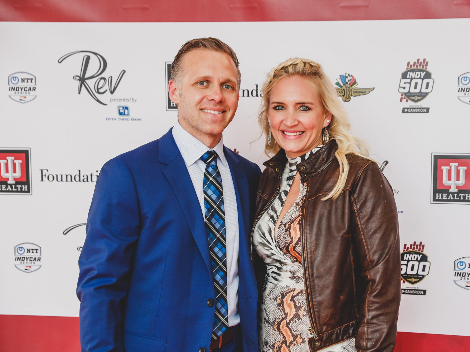 IndyCar driver and team owner, Ed Carpenter an his wife Heather walk the red carpet at the Rev Indy fundraiser, held at the Indianapolis Motor Speedway on Saturday, May 4, 2019. Funds raised support the IU Health Foundation statewide and the IU Health Emergency Medical Center at IMS.