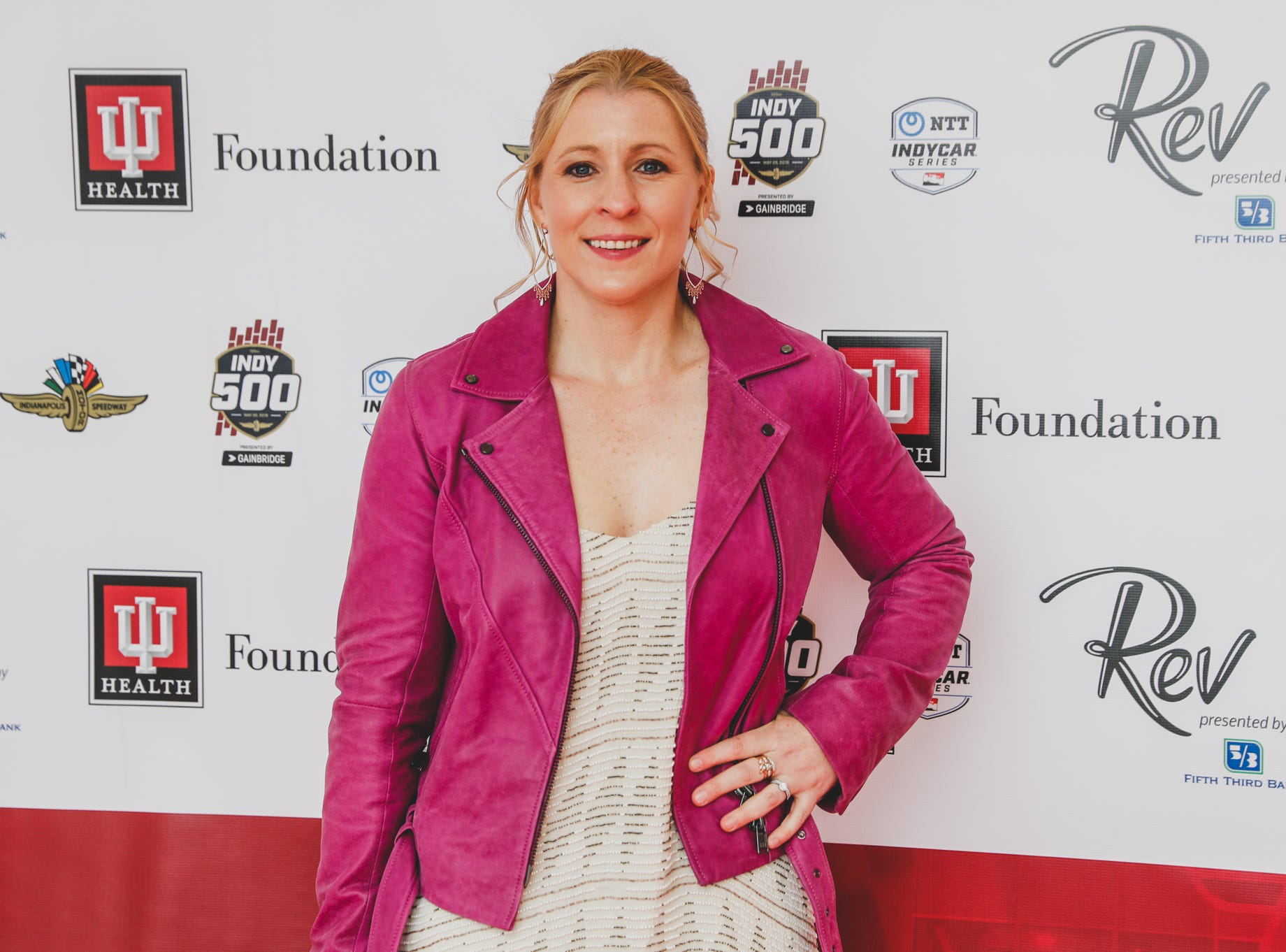 IndyCar driver Pippa Mann walks the red carpet at the Rev Indy fundraiser, held at the Indianapolis Motor Speedway on Saturday, May 4, 2019. Funds raised support the IU Health Foundation statewide and the IU Health Emergency Medical Center at IMS.