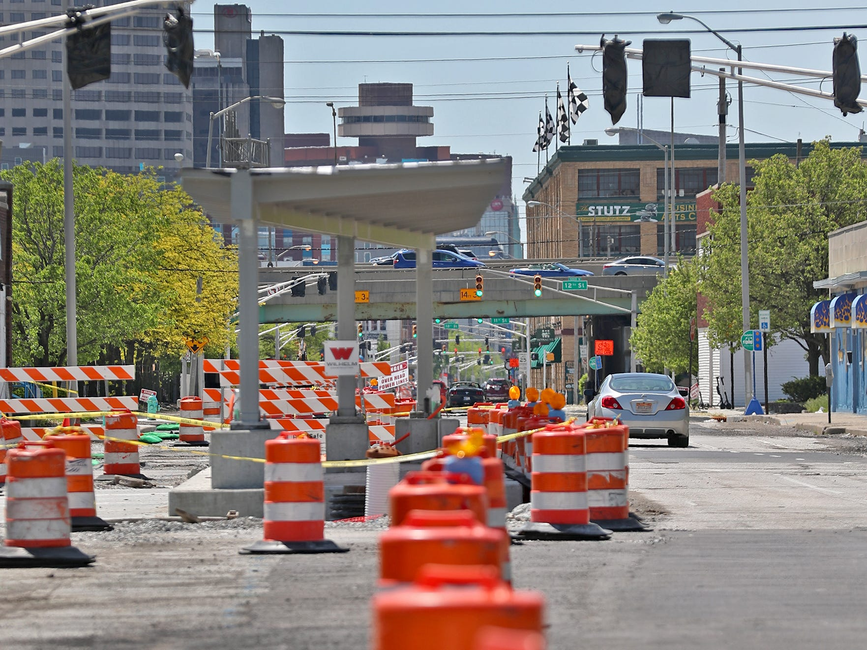 Red Line construction continues in Indianapolis, Sunday, May 5, 2019.  The City has updated the timeline when the Red Line Bus Rapid Transit system should open, which is later in 2019 summer.  This is looking south on Capitol Ave. towards downtown.