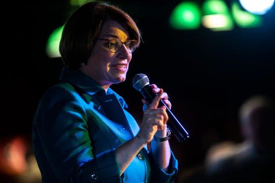 U.S. Sen. Amy Klobuchar, D-Minn., speaks during a campaign event, Saturday, May 4, 2019, at the Mill Restaurant in Iowa City, Iowa.